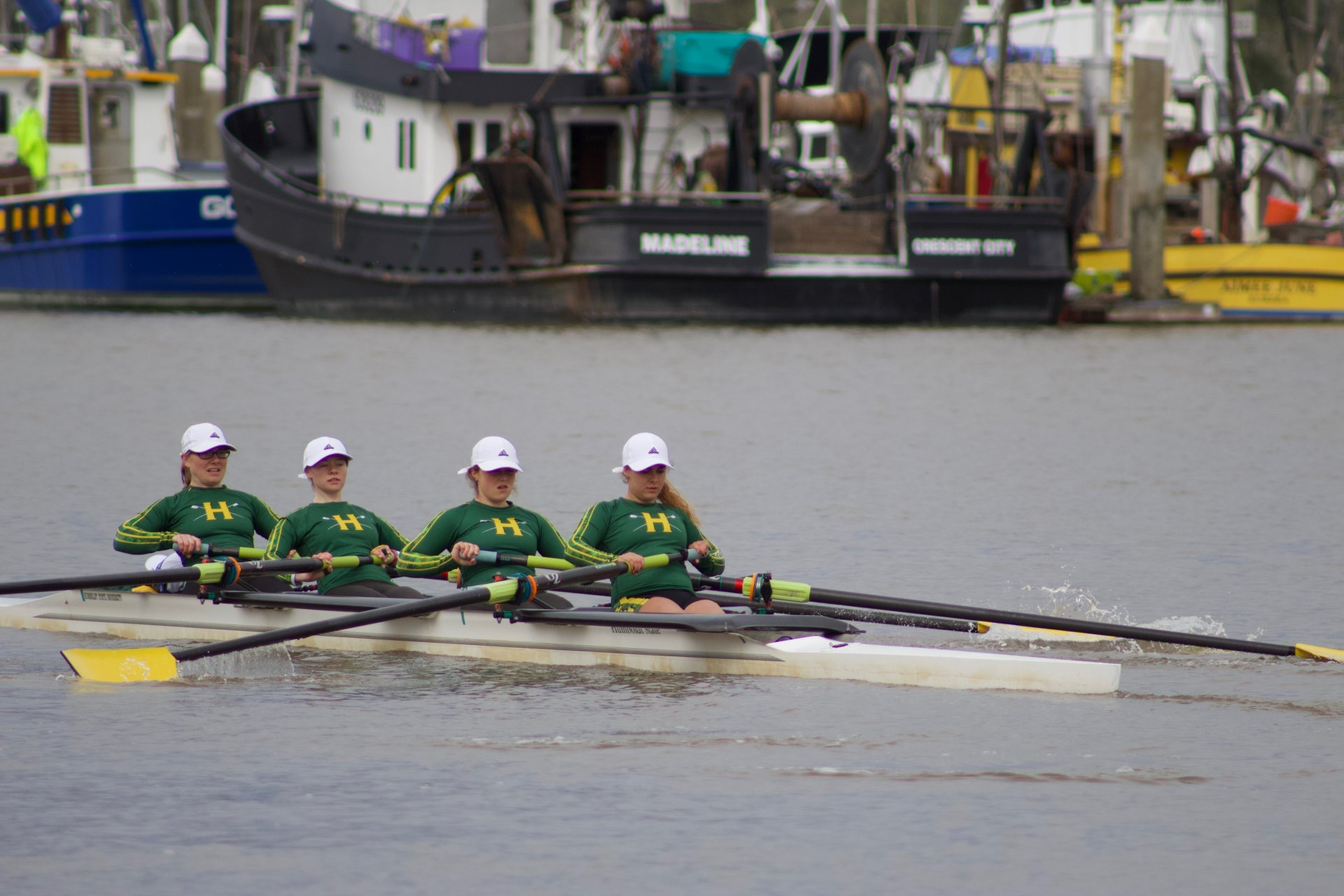 The Jacks women's crew team competed at the Blue Heron Redwood Sprints Regatta on March 24. | Photo by Robert Cranfill.