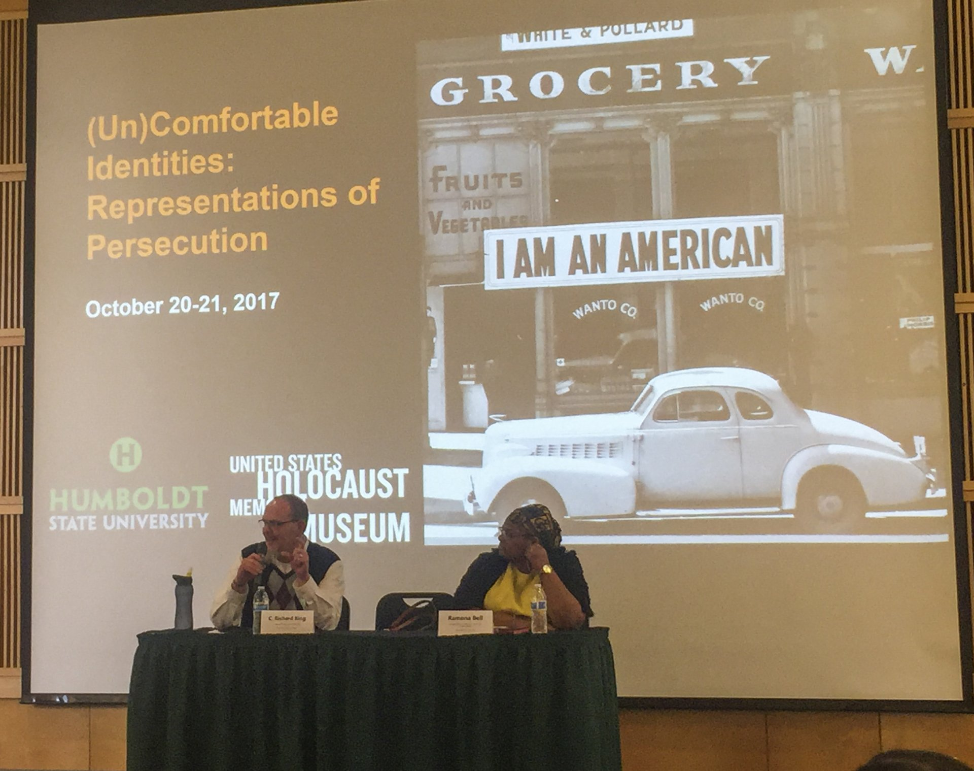 C. Richard King of Washington State University (left) and Romana Bell (right) of HSU discuss historical white supremacy. Photo credit: Lora Neshovska