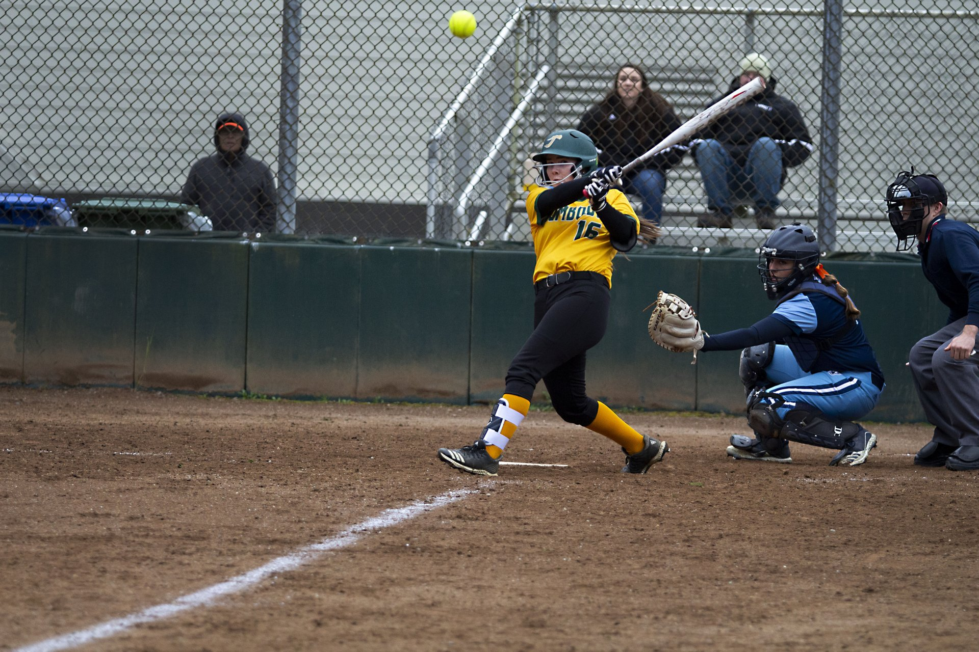 Humboldt State outfielder Katelyn Dendas makes contact with a pitch during the Lumberjacks game against Sonoma State on Feb. 28, 2020 at HSU Softball Field. | Photo by Thomas Lal