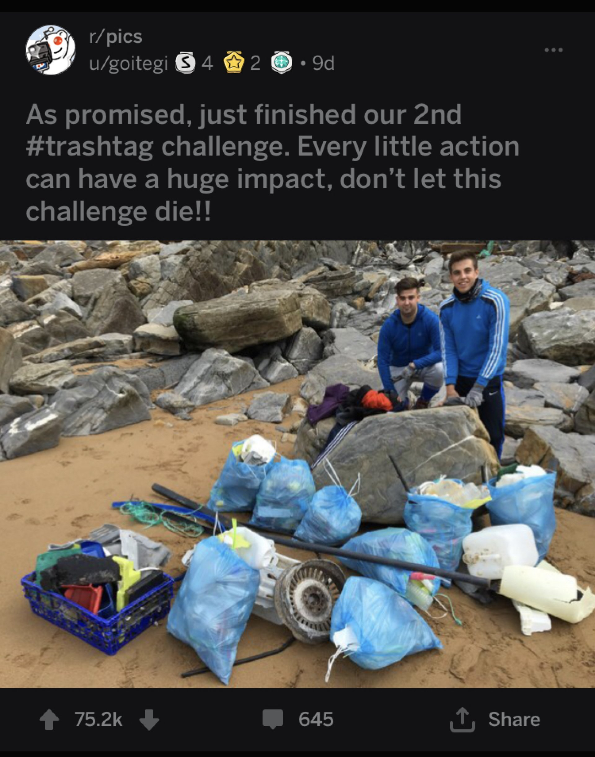 Aitor Olea (left) and Ander Bilbao (right) pose with their 3rd cleanup of beaches, Sopelena, Spain. | Photo Courtesy of Jon Ortega