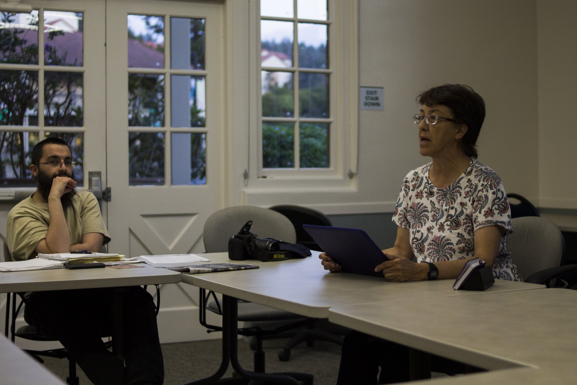 Nathaniel Mcguigan, minister of communications for Humboldt's chapter of Party of Socialism and Liberation (PSL), and Gloria La Riva, American socialist activist, leads workshop at HSU on proposition 10 for rent control. | Photo by Tony Wallin