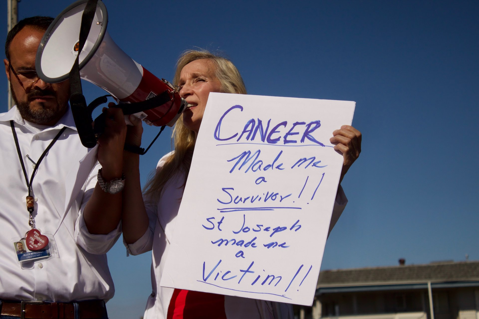 Trieste Monroe speaks to the crowd about her troubles with St. Joseph Hospital at the Nurses Rally on Monday September 26. | Photo by Deven Chavannes