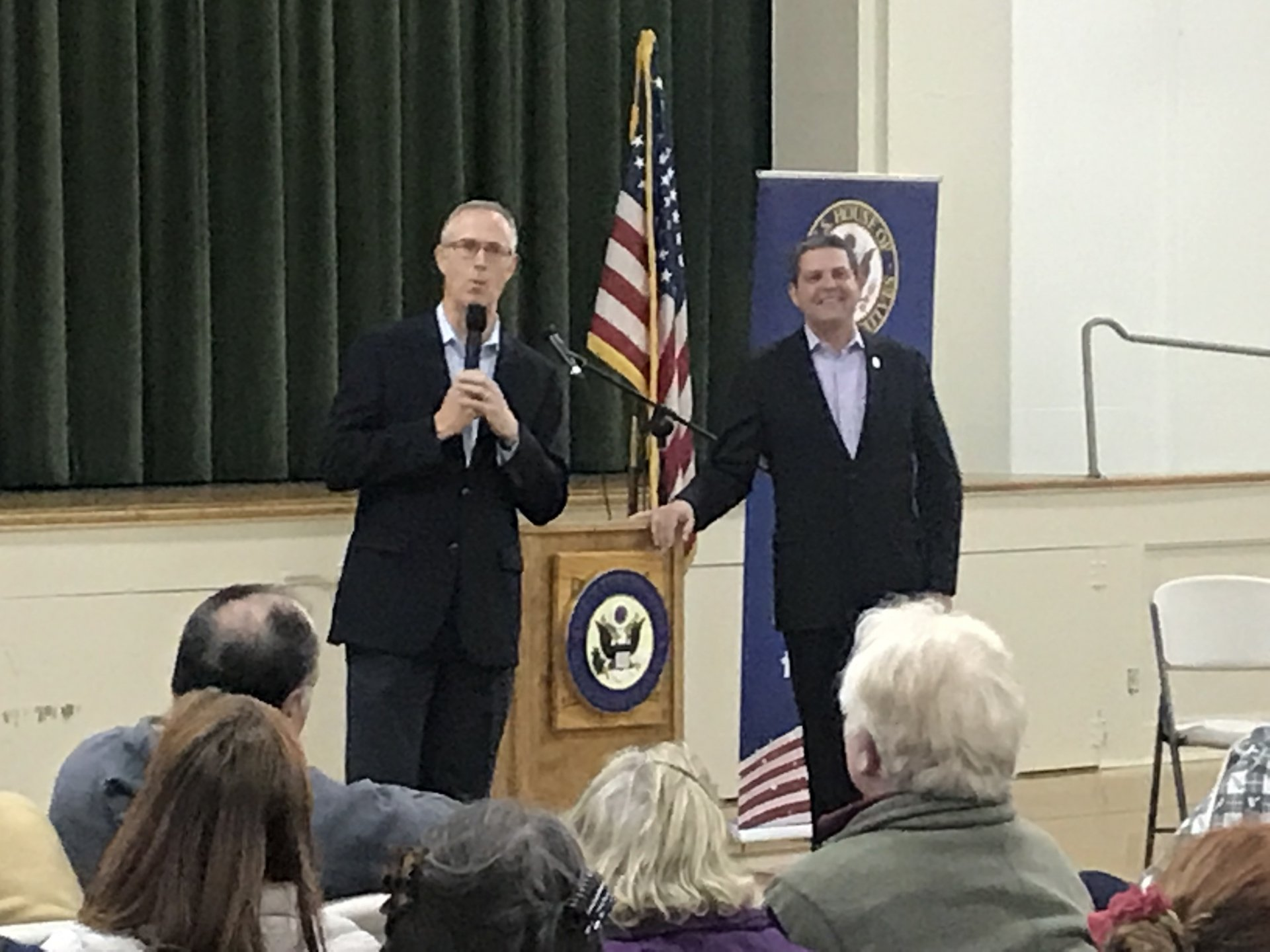 State representative Jim Wood (right) and congressman Jared Huffman (left) answer questions at town hall in Eureka. | Photo by Amanda Schultz