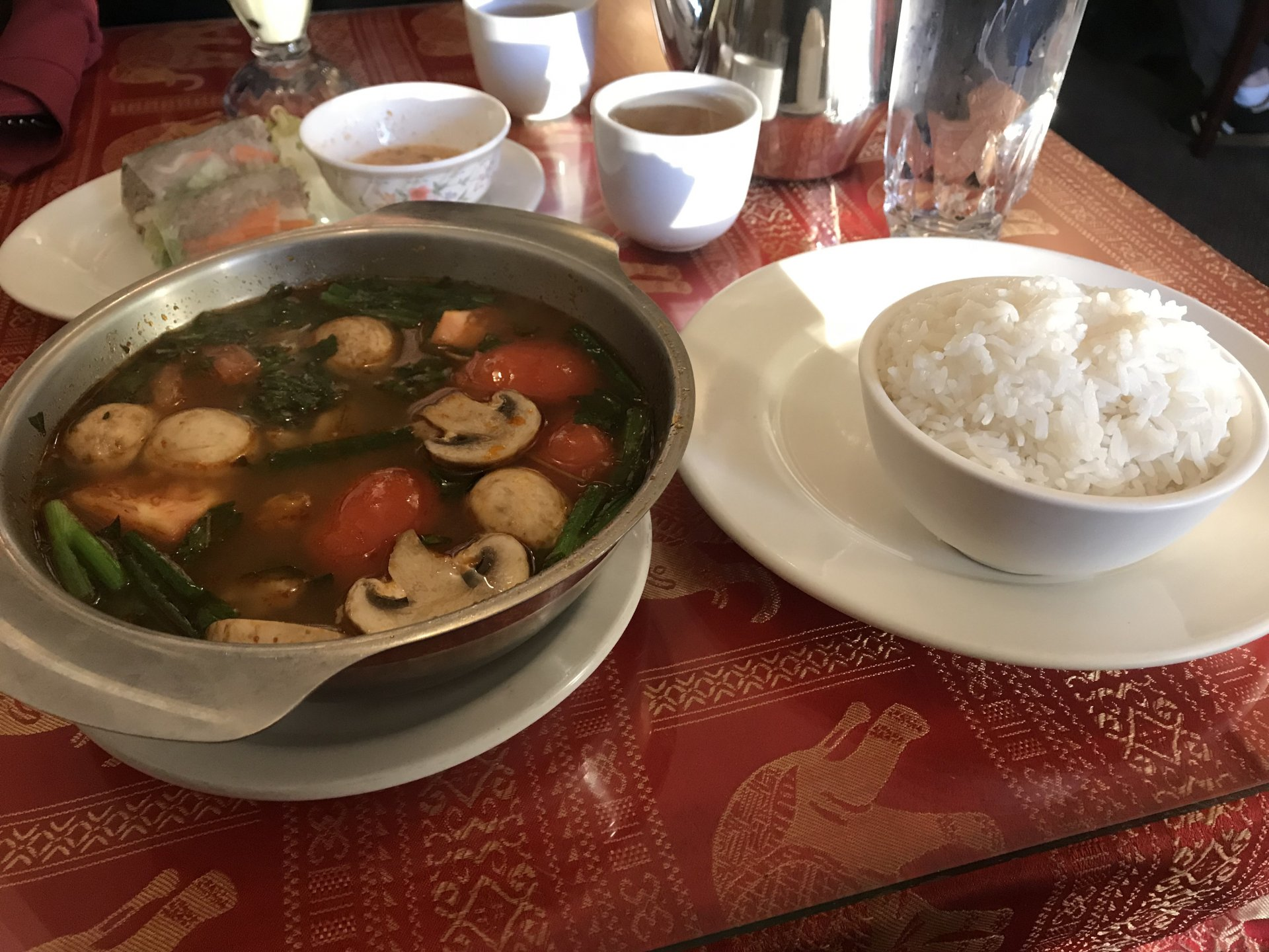 Annie's Cambodian Chick Tom Yum and white rice. Photo by Gabe Rivera