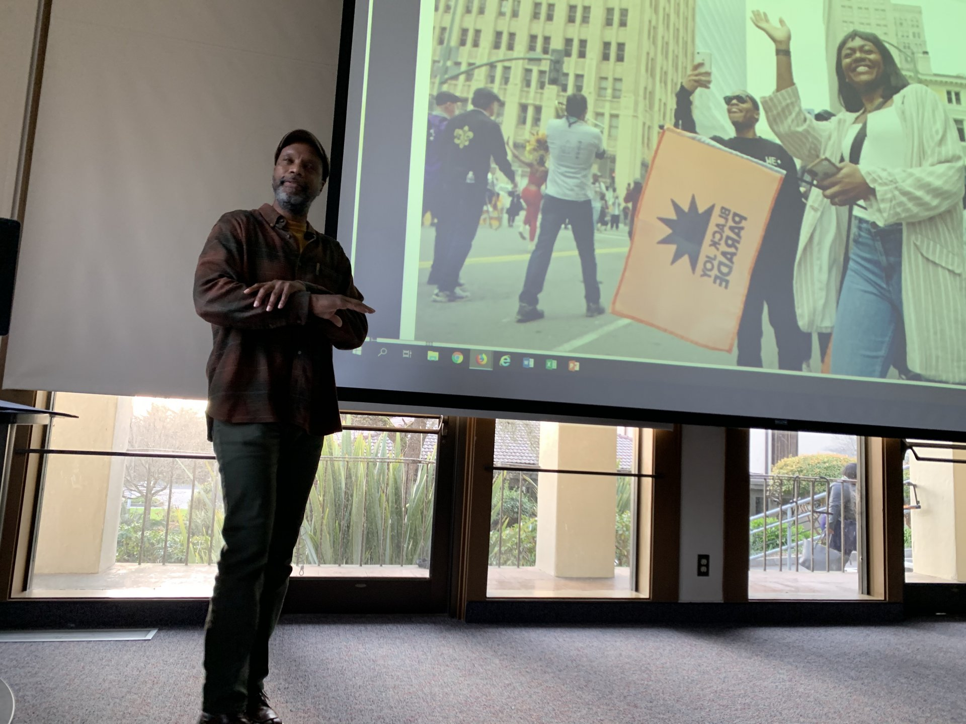 Anthropologist and journalist Kirby Moss, Ph.D., speaks about Black joy during his campus discussion Feb. 20. | Photo by Rachel Marty