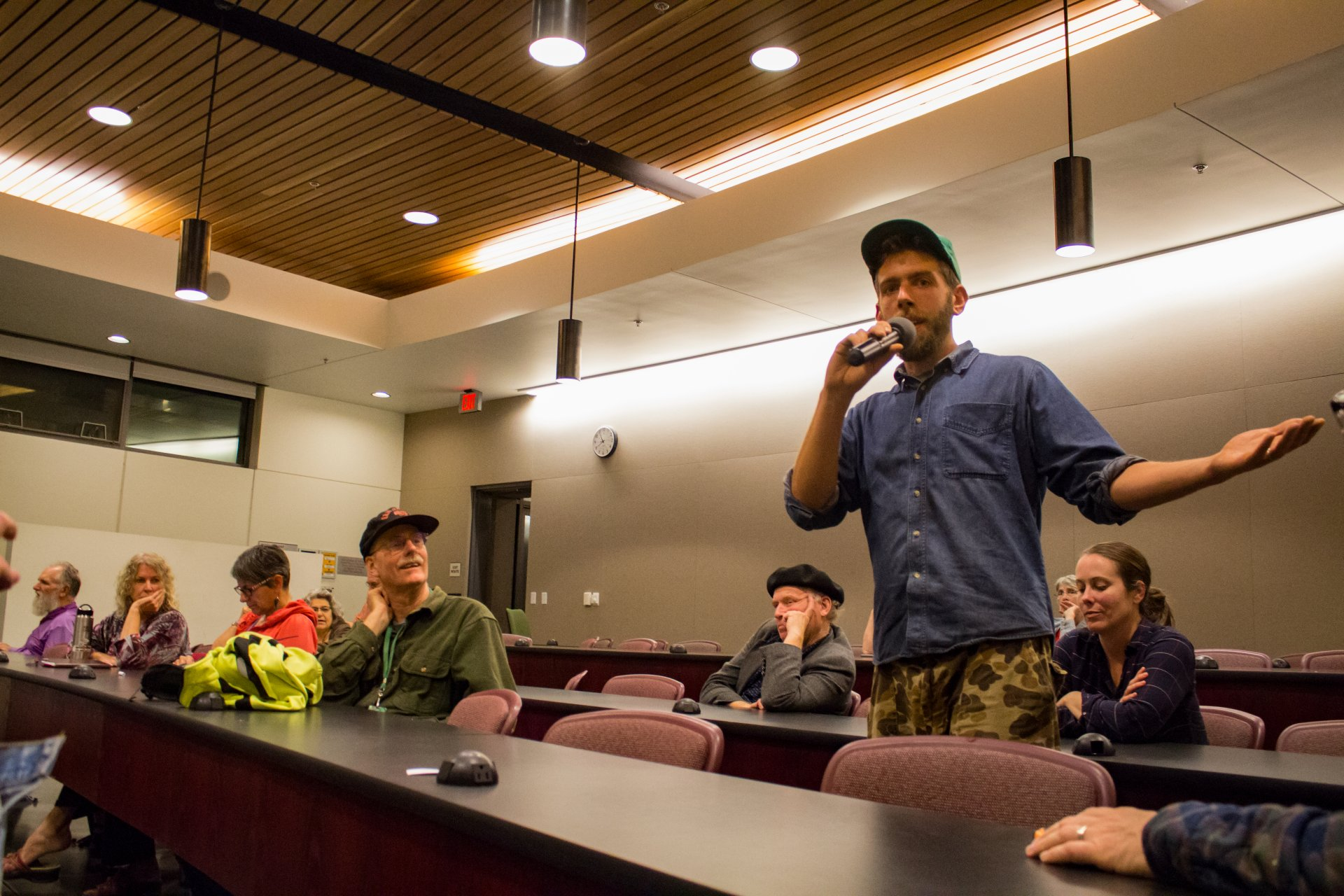 Brian Curtis, a KHSU on-air volunteer host, addresses his concerns and suggestions at KHSU CAB meeting on Wednesday sept 26th 2018. | Photo by Tony Wallin
