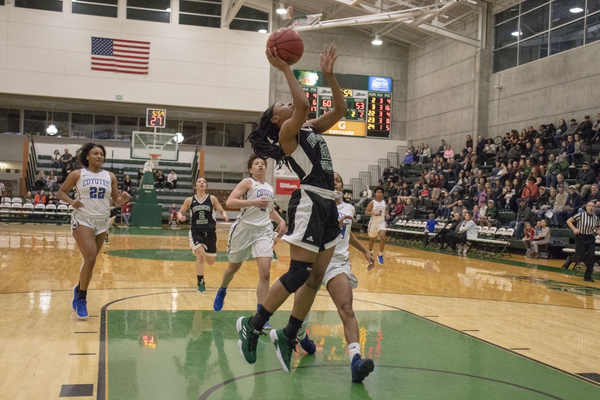 Junior Alexia Thrower hitting the breakaway layup Saturday. Thrower named CCAA player of the week averaging 25 points and 12.5 rebounds.