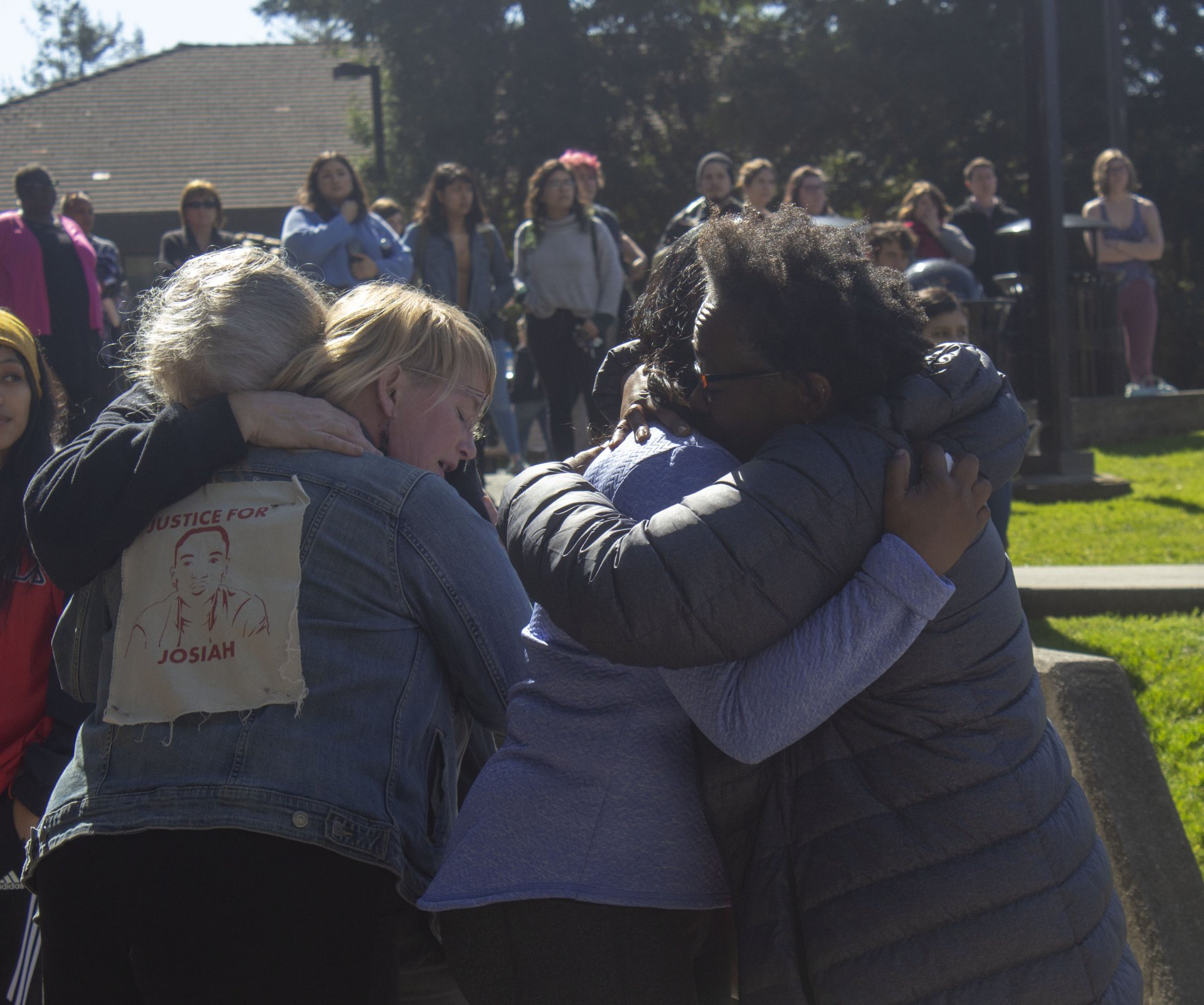Lorna Bryant hugs Charmaine Lawson during the Gathering For Justice For Josiah event at HSU on Friday March 15.| Photo by T.William Wallin