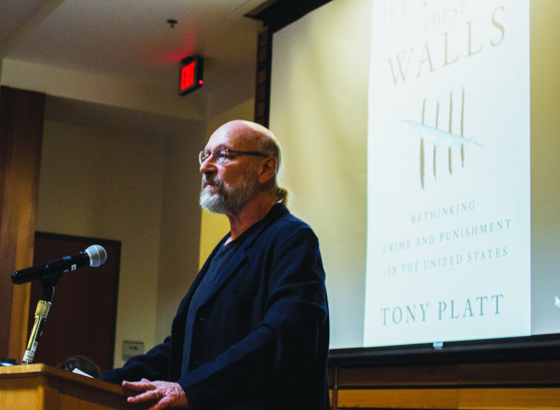 Tony Platt, author of 'Beyond These Walls: Rethinking Crime and Punishment in the United States, speaks to students, professors, and community memebrs in The Native American Forum on February 14 2019. By: T.William Wallin