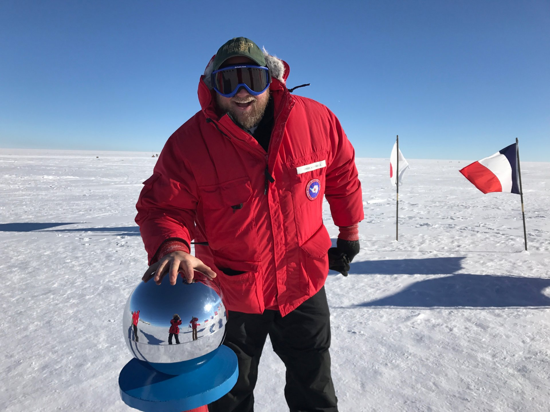 Josh Ferrell at the South Pole shooting an episode of