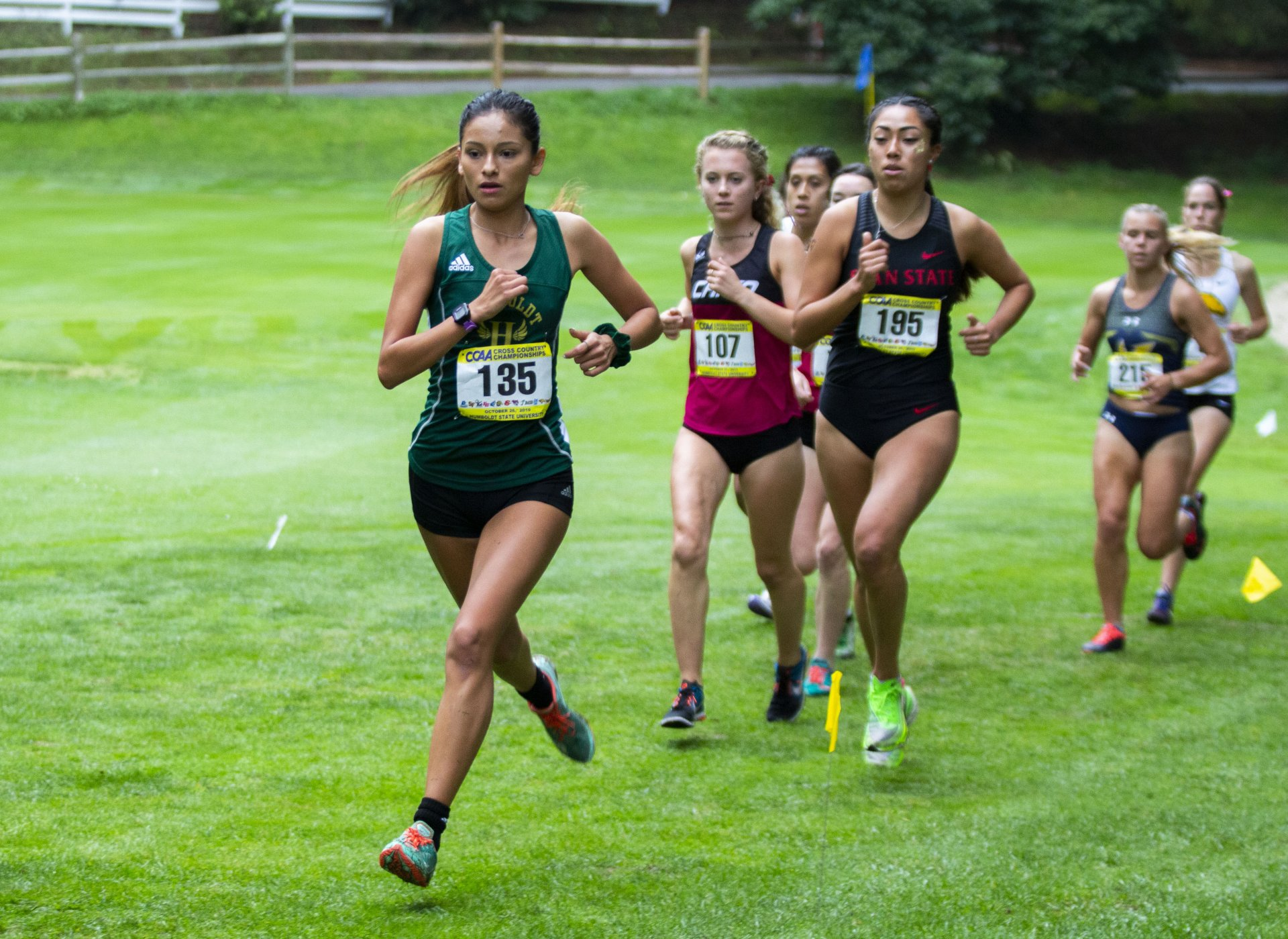 Humboldt State's Rosa Granados leads a small pack of runners duirng the CCAA conference meet at Baywood Golf & Country Club on October 26.