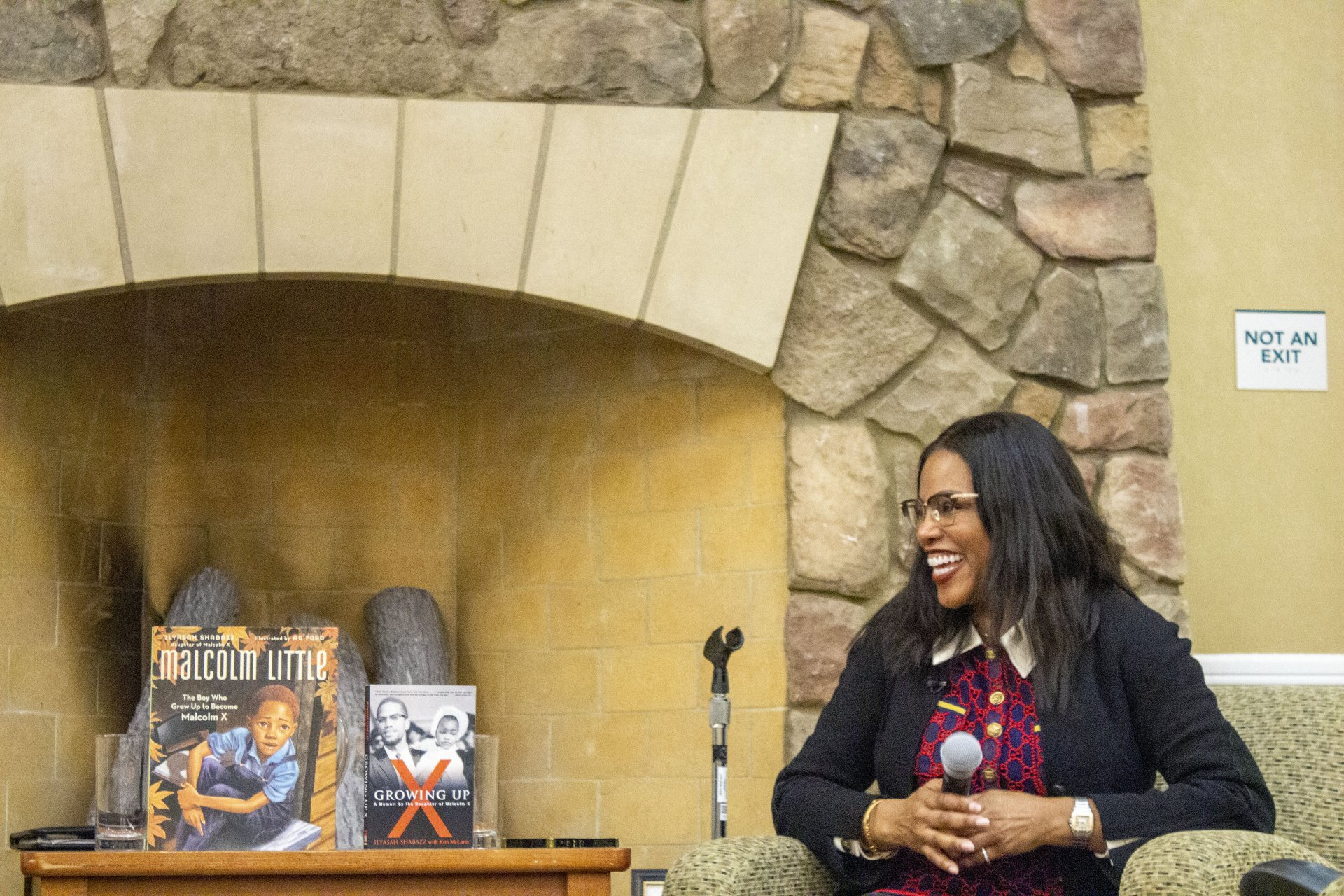 Ilyasah Shabazz on Feb. 12 in the Great Hall at Humboldt State discussing her book and what it was like growing up as Malcolm X's daughter. | Photo by Sarah Blunt
