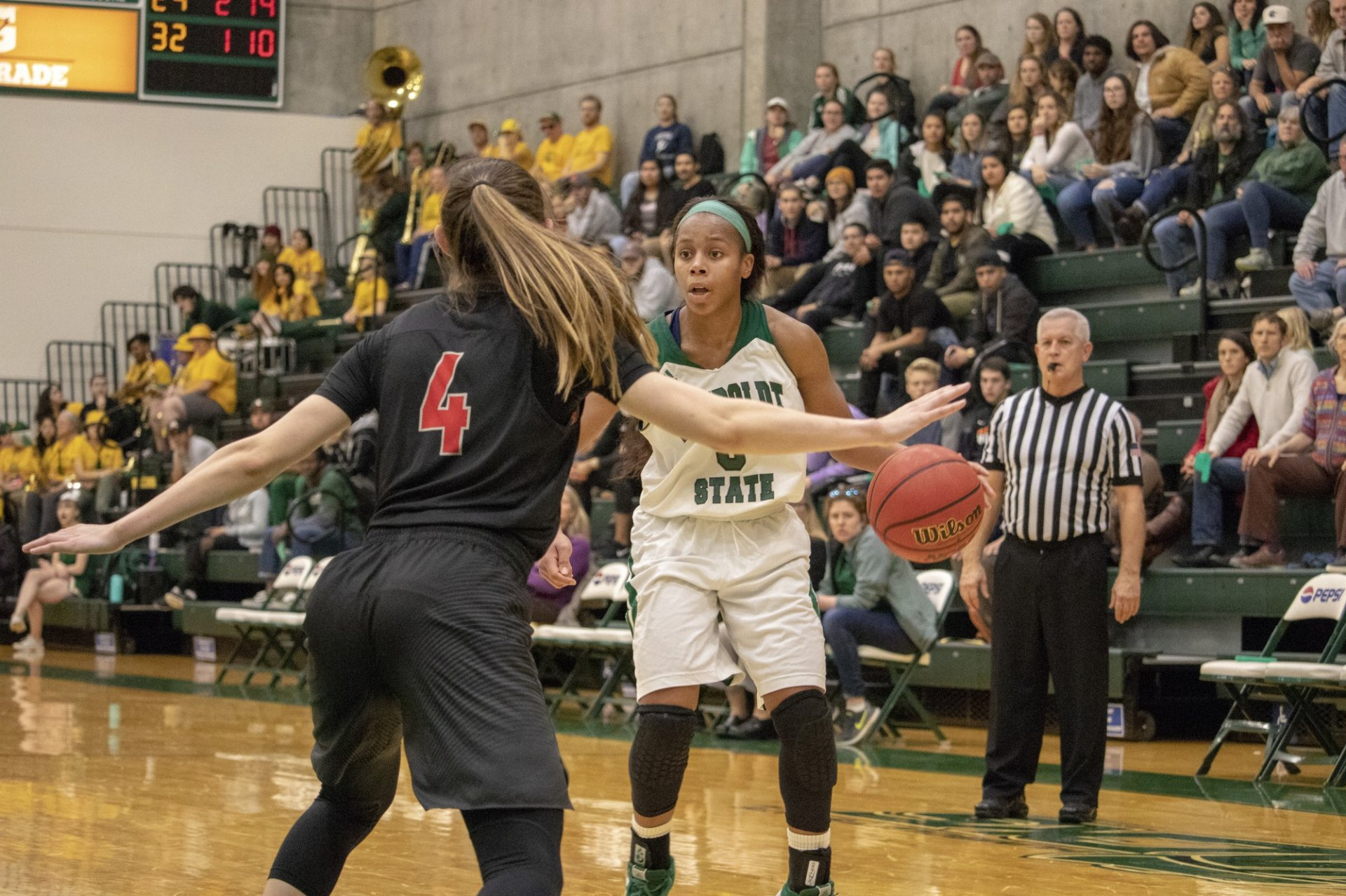 No. 3 Tyra Turner gets isolation on the perimeter and looks for an opening to drive to the hoop. | Photo by Matt Shiffler