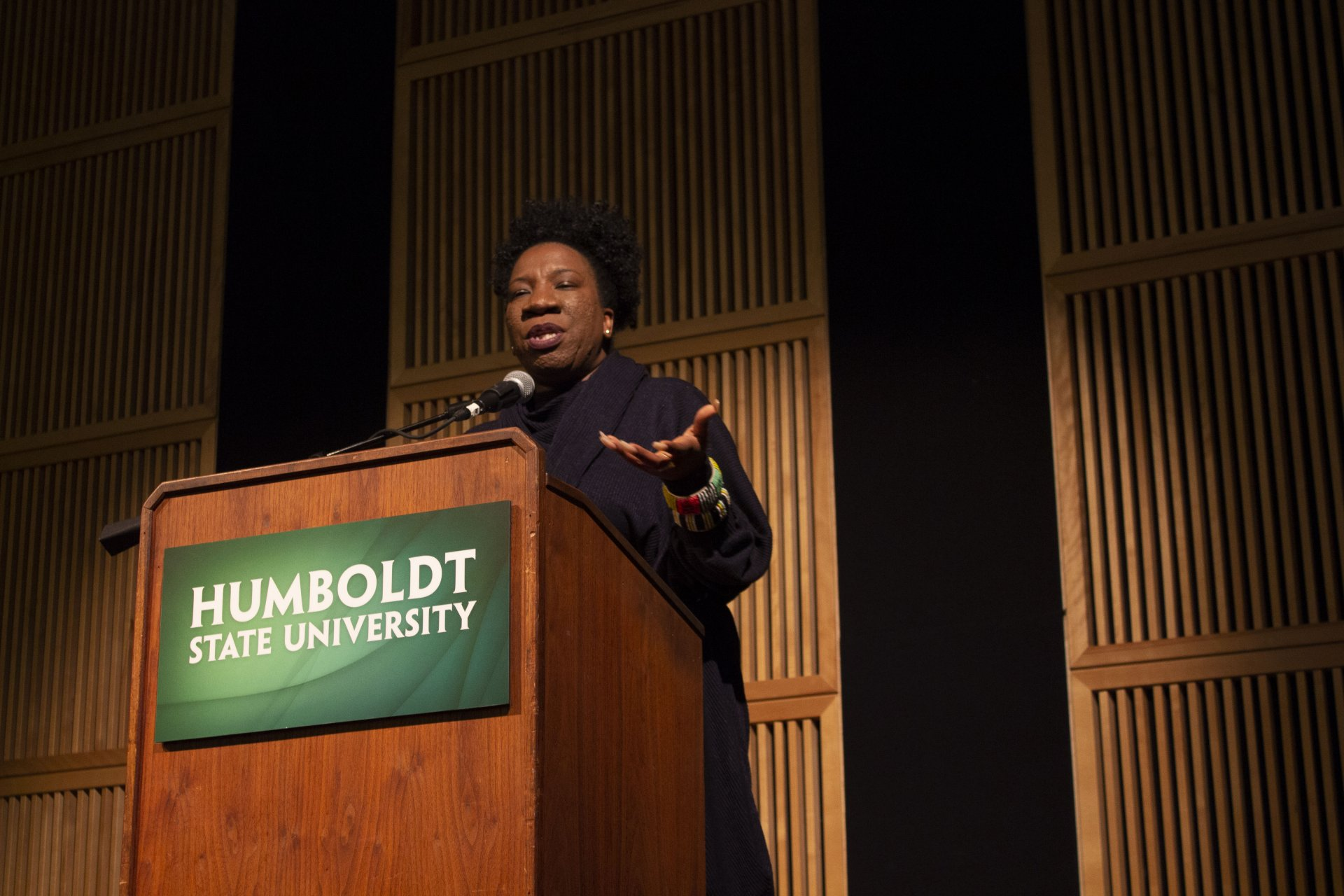 Tanara Burke, founder of the #metoo movement, speaks to a sold out crowd at HSU on Sunday Feb. 3. | Photo by Tony Wallin
