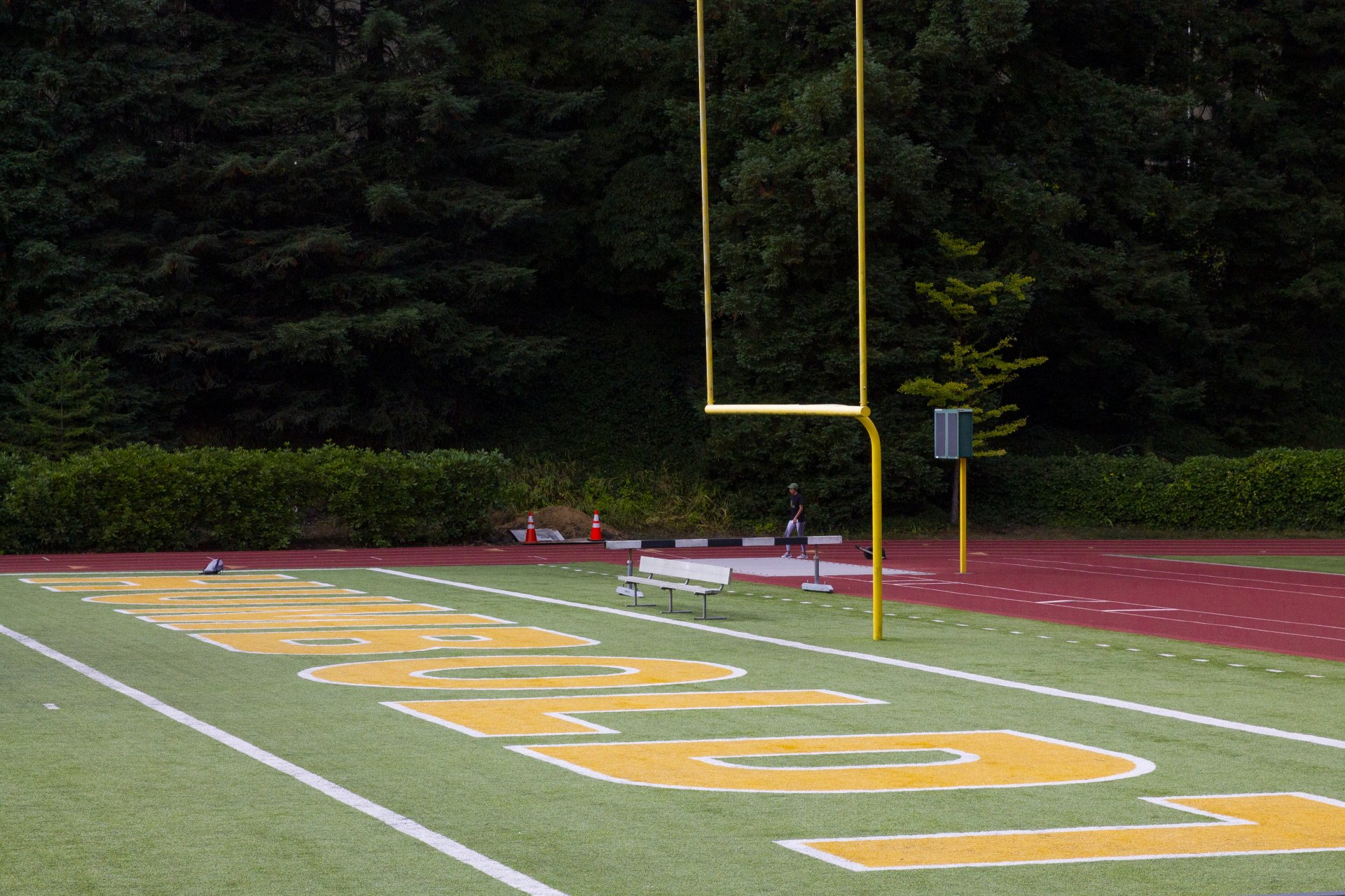 One of the end zones at the Redwood Bowl on campus on Sept. 15, 2020. | Photo by Thomas Lal