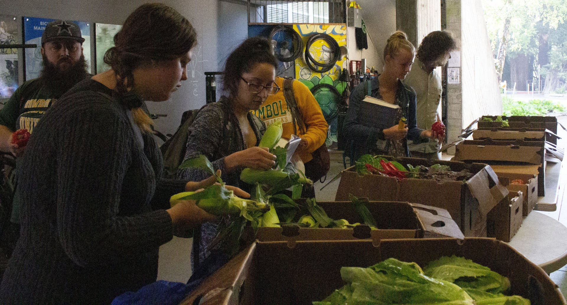 Students sorting through fresh produce at the Oh SNAP! farm stand on Wed., Sept. 25. | Photo Alberto Muro