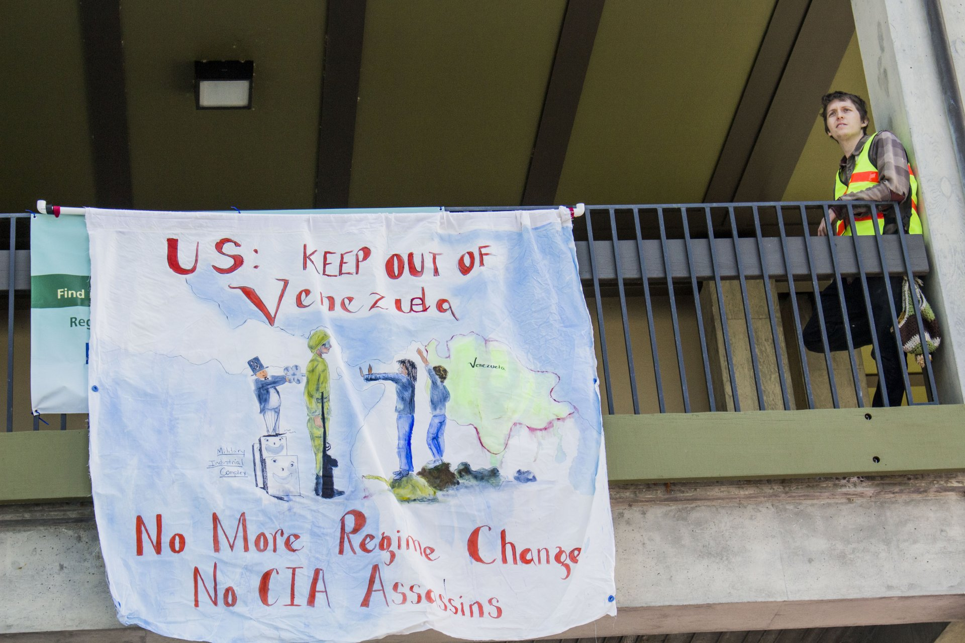 A handmade sign opposing American invovlement in Venezuela  was hung above the clubs and activities fair at HSU on February 6th 2019. By T.William Wallin