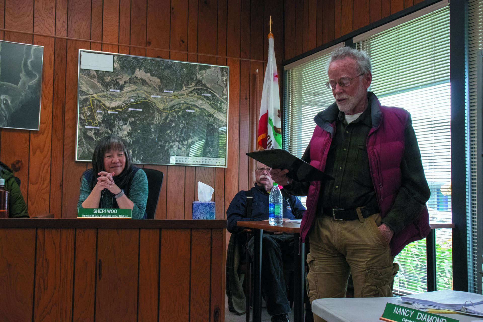 Community member John Shaffer speaks against RCEA moving forward with offshore wind farm on Humboldt Bay. | Photo by  T.William Wallin
