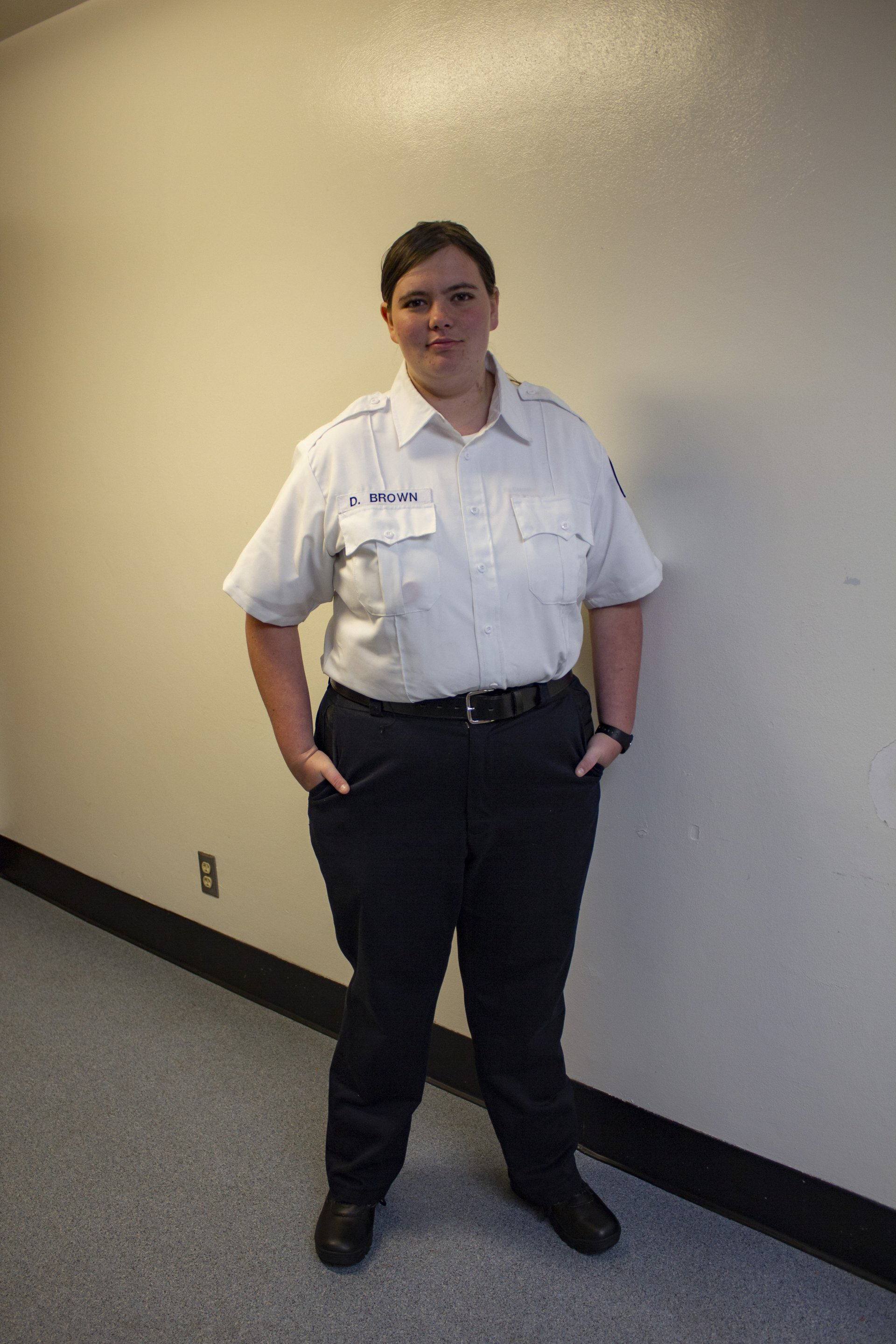 Danielle Brown in her Emergency Medical Technician uniform. | Photo by Ross Milne
