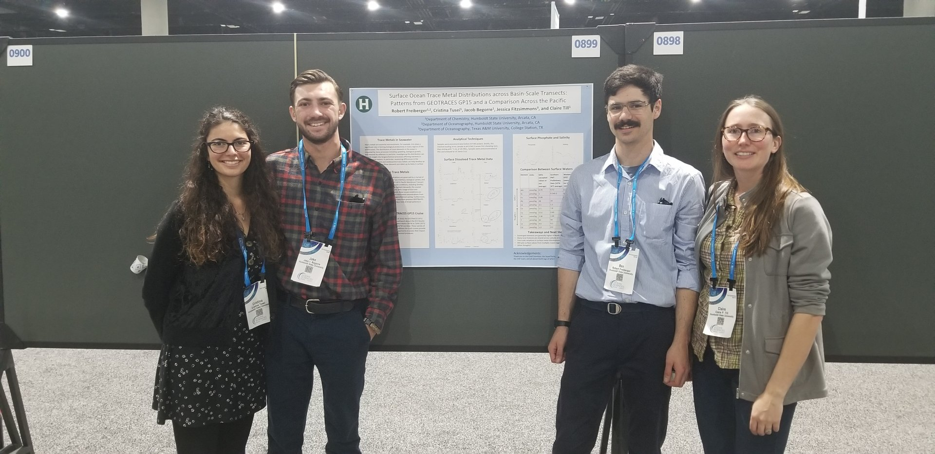 Professor Claire Till with Ben Freiberger, Jacob Begorre and Cristina Tusei in front of their poster at the Ocean Sciences Meeting in San Diego. | Photo courtesy of Claire Till