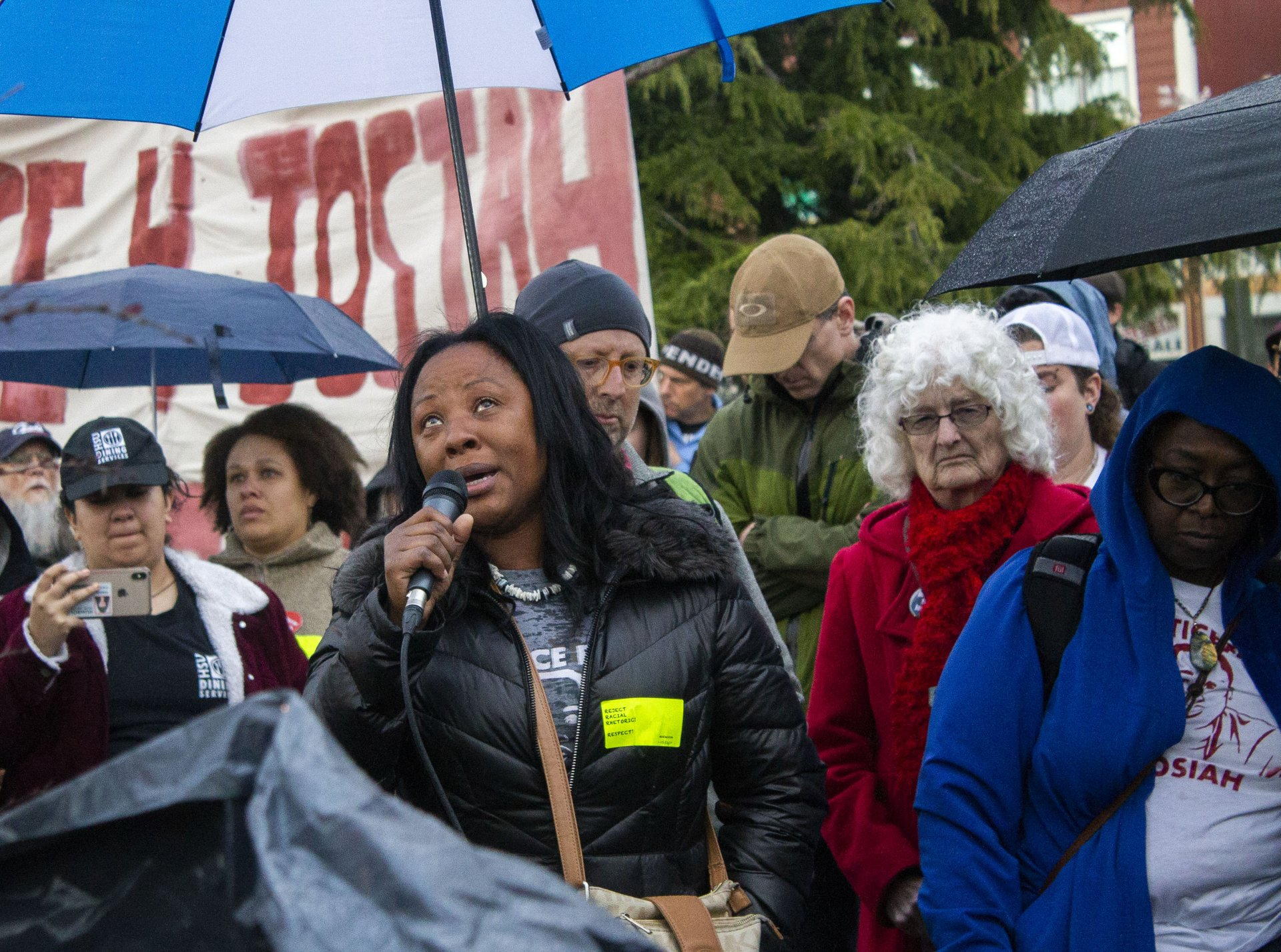 Charmaine Lawson looks up to the sky at the Arcata Plaza as she speaks to her son David Josiah Lawson on the two year anniversary of his death on April 15. | Photo by Thomas Lal