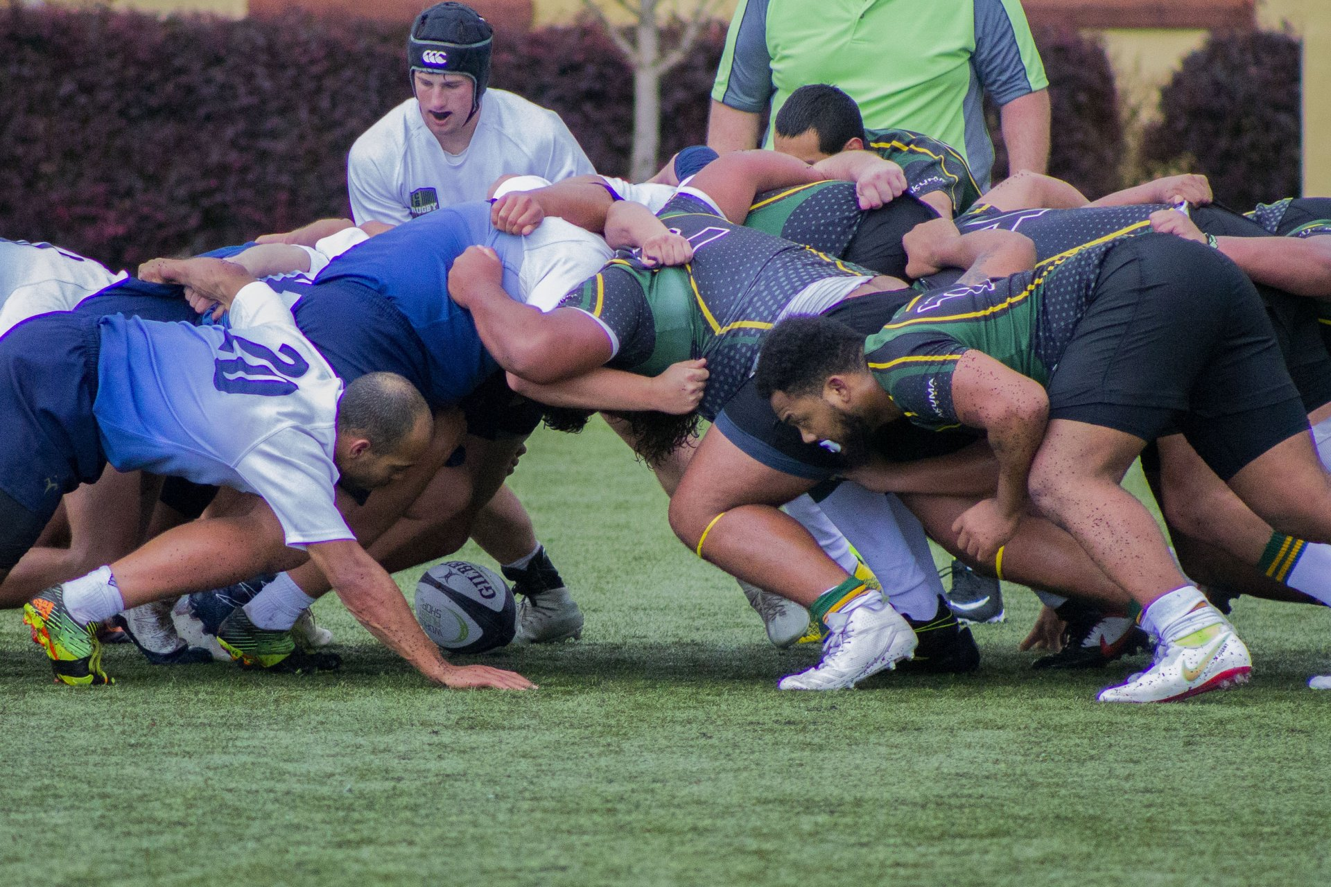 The HSU Men's Rugby Team battle it out in a scrum against CSUMB on the way to a 24-22 victory at home on Feb. 9, 2019. | Photo by Thomas Lal