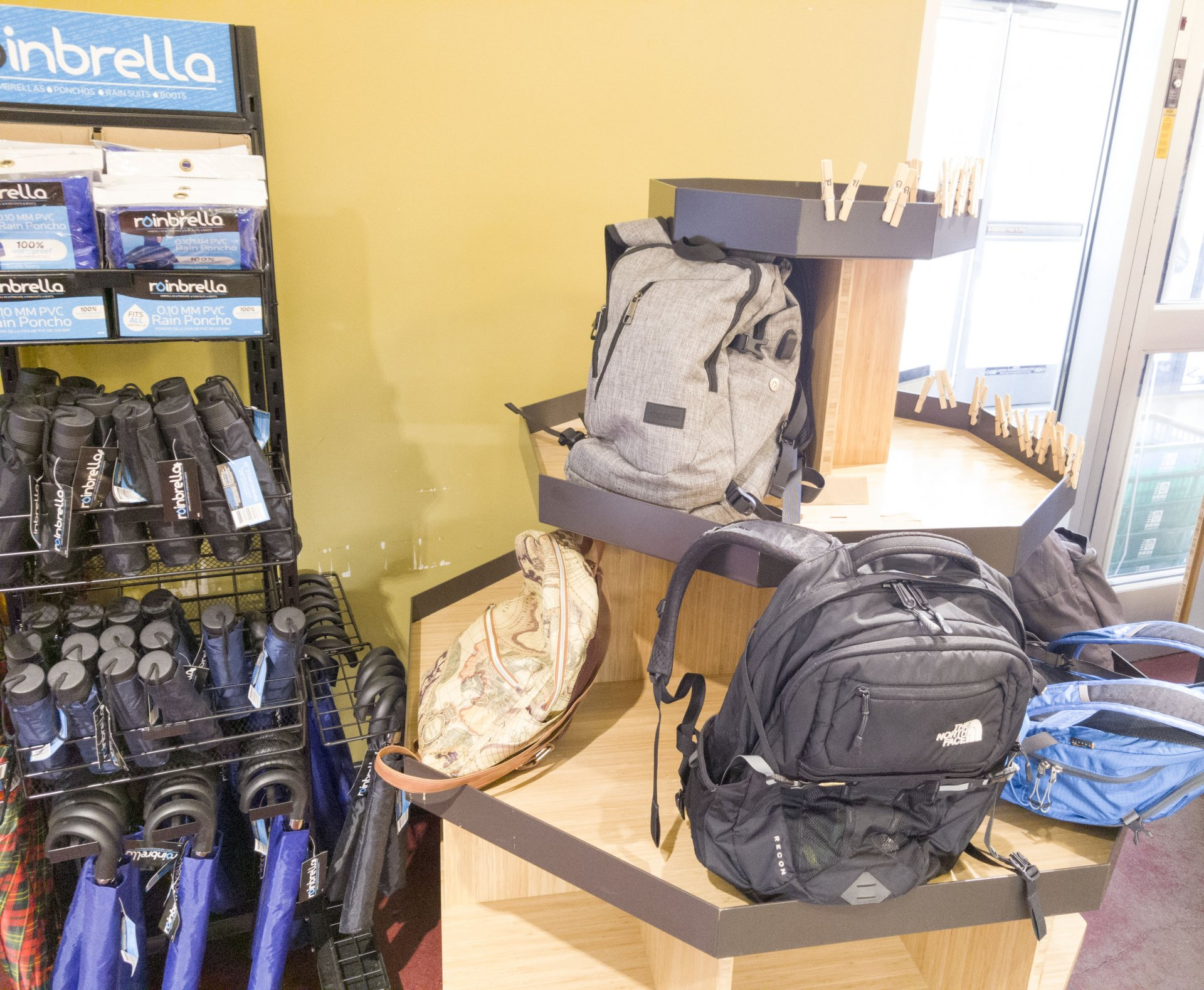 The new designated area for students to leave their backpacks at College Creek Marketplace. Photo by Luis Lopez.