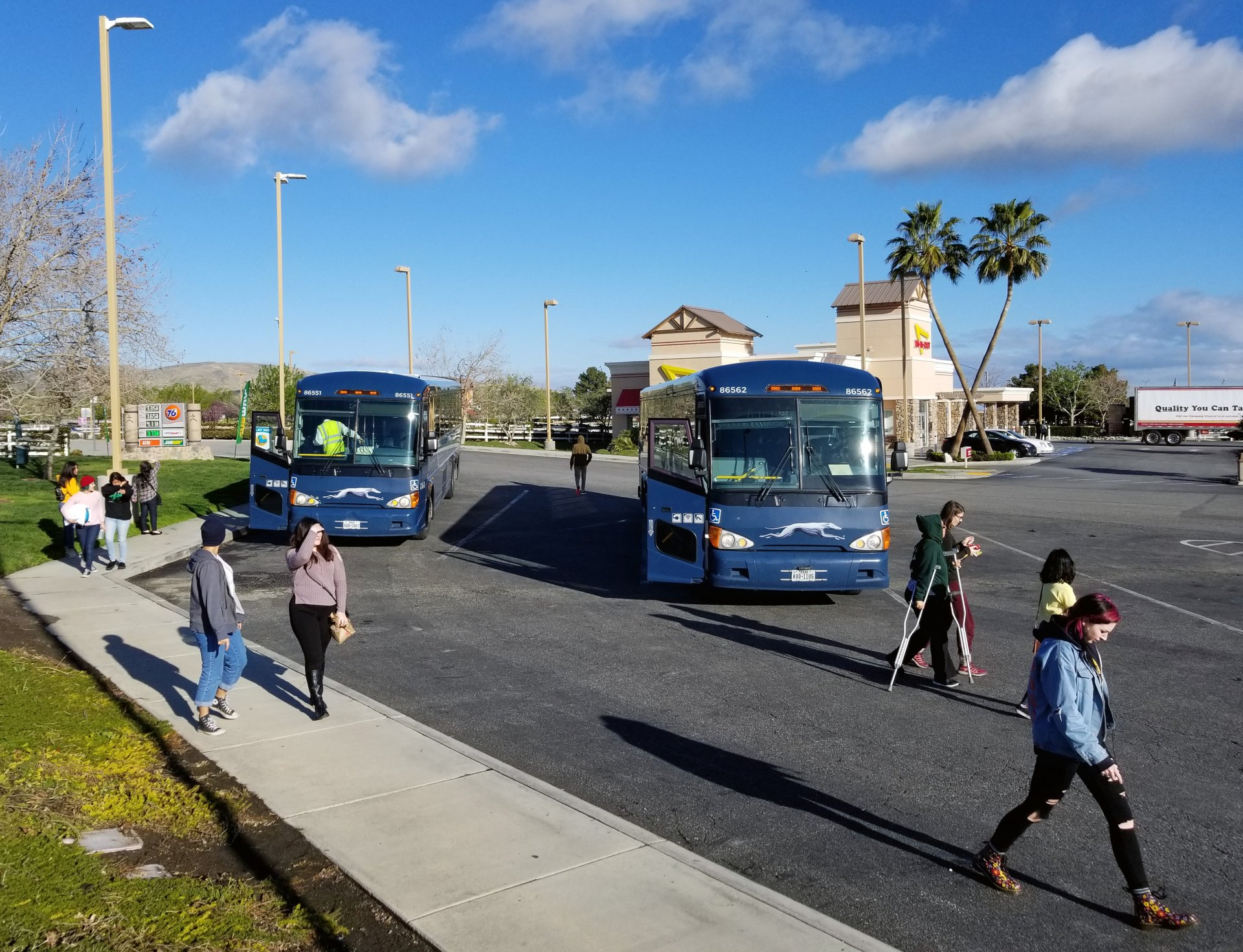 Humboldt State Homeward Bound buses make a pit stop in Lebec, California en route to Arcata on March 17, 2018. | File photo by Luis Lopez