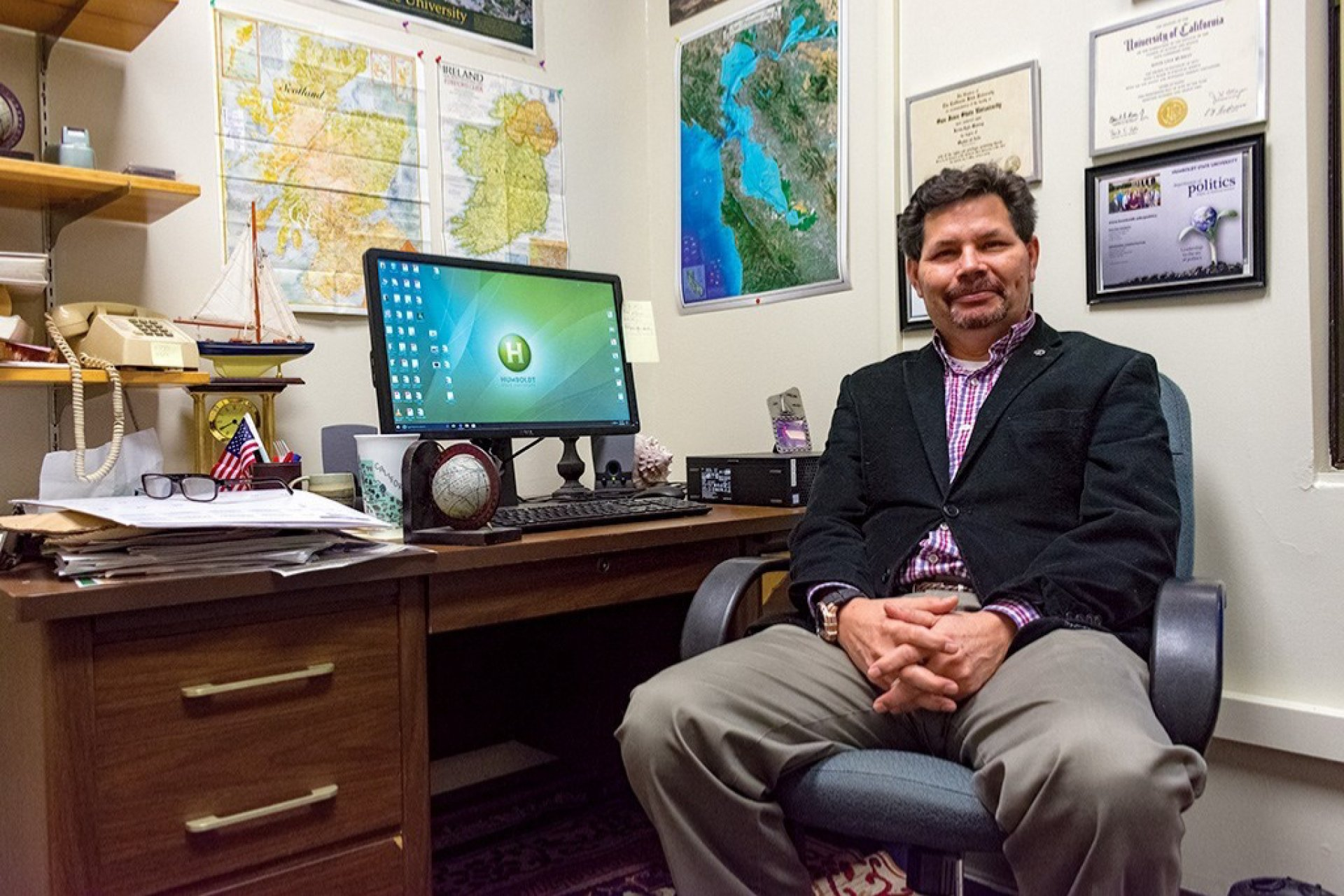 Political science professor Kevin Murray poses in his office on Jan. 22 in Founder's Hall 124 at Humboldt State University. Murray is running as a candidate to represent California's 2nd State Assembly. He's taught political science since 1989. Photo by Megan Bender.