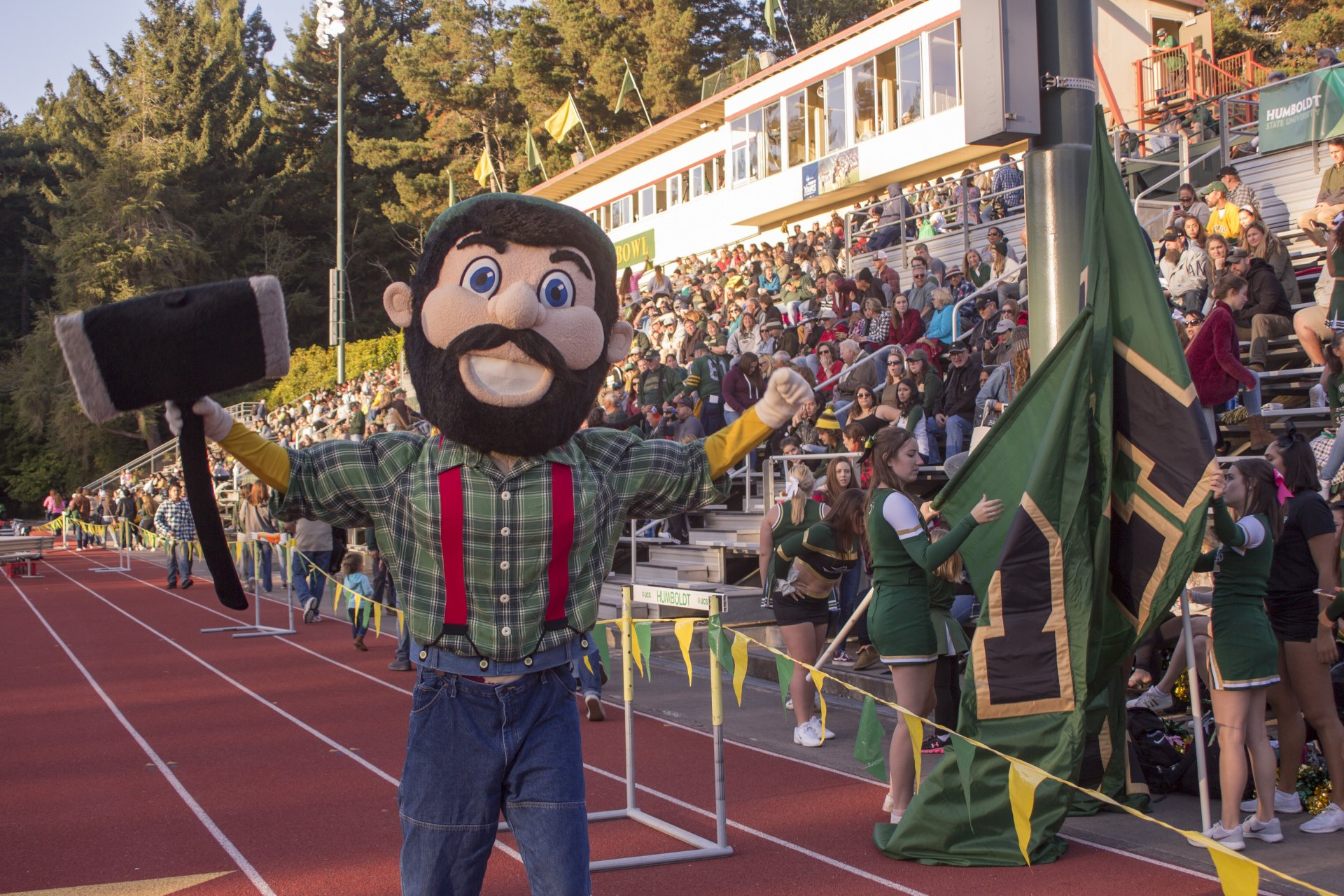 Lucky the Lumberjack hyped up the crowd before the Jacks' Homecoming Game on Oct. 6. | Photo by Nick Kemper
