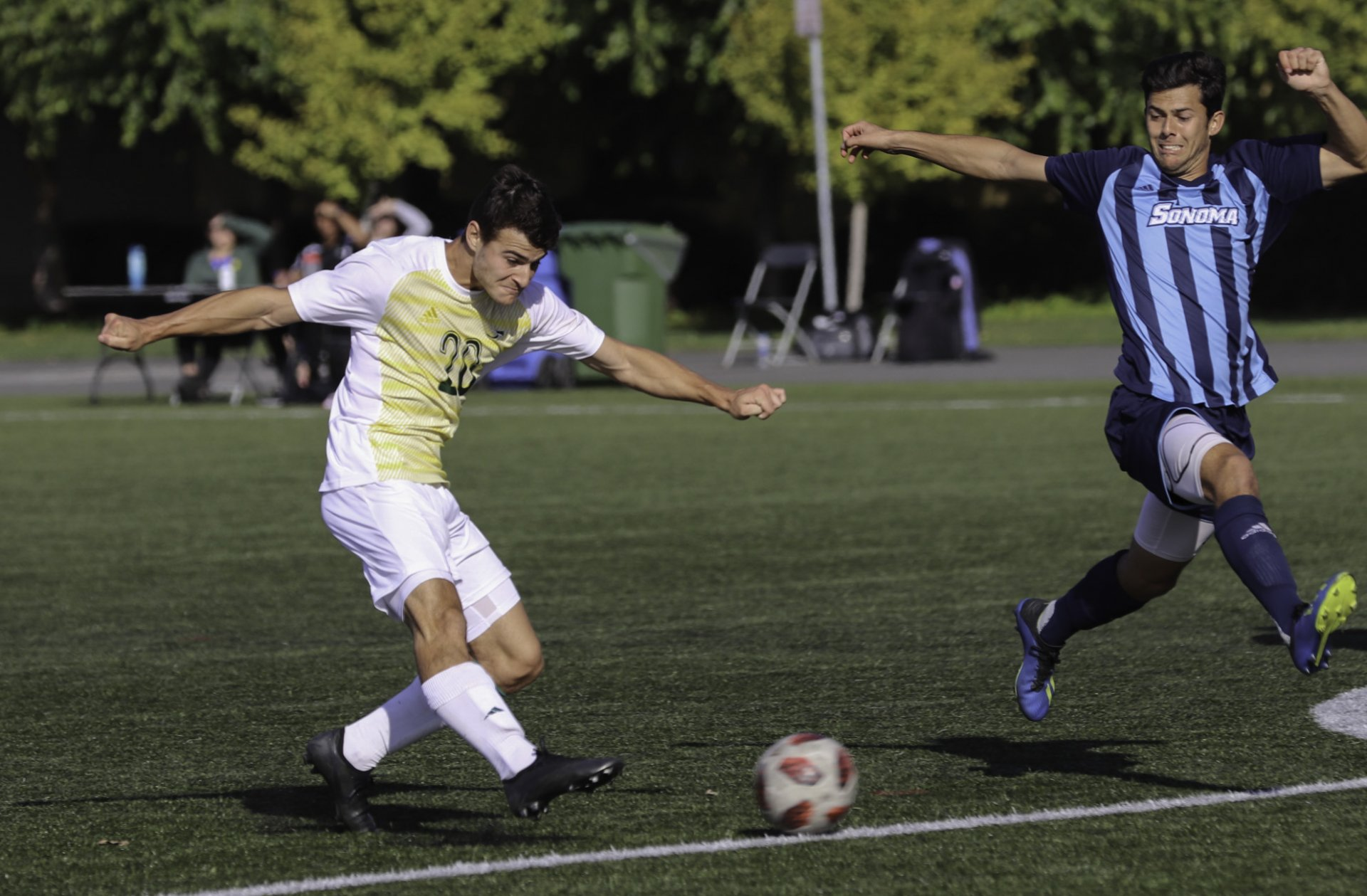 Marco Silveira (#20) seemed to be apart of every offensive push down the pitch, creating problems for the Sonoma State defense. | Photo by Matt Shiffler