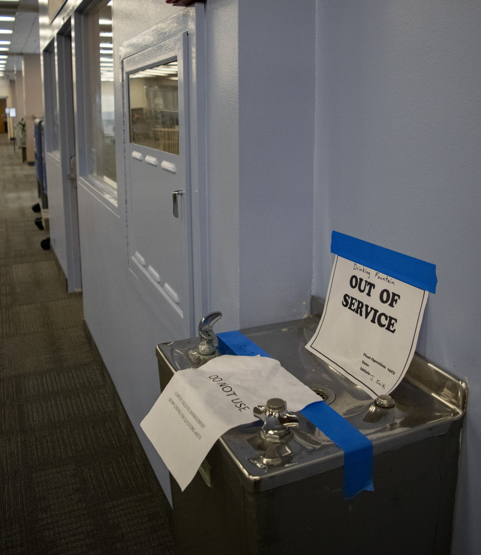 A water fountain on the third floor of Humboldt State University's library is out of service, on Oct. 15. Results from HSU's summer water test released on Oct. 10 reported that lead particles in these fountains are higher than the Environmental Protection Agency's recommended limit. | Photo by Michael Weber