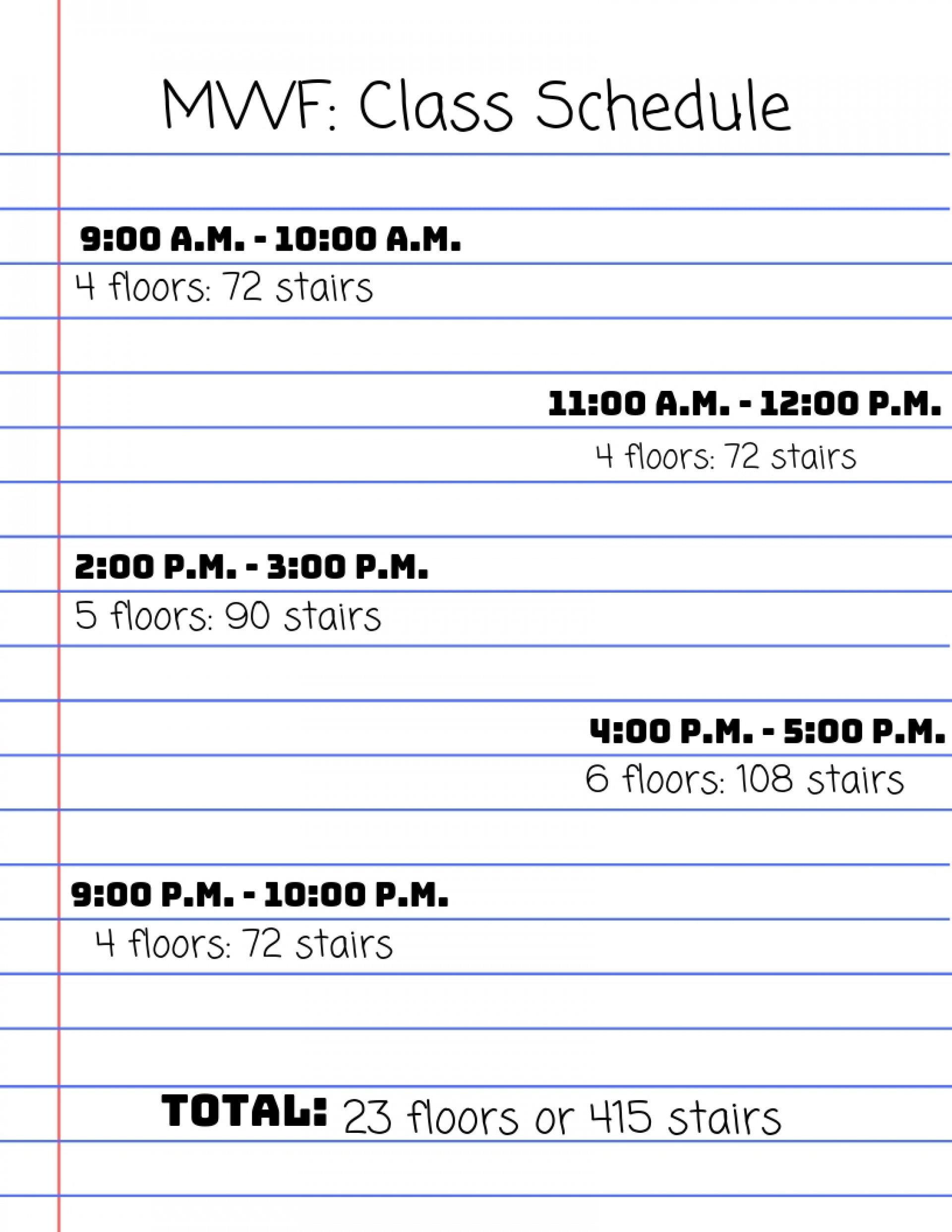 Caswell's schedule and stairs per class.   Graphic by Grace Caswell