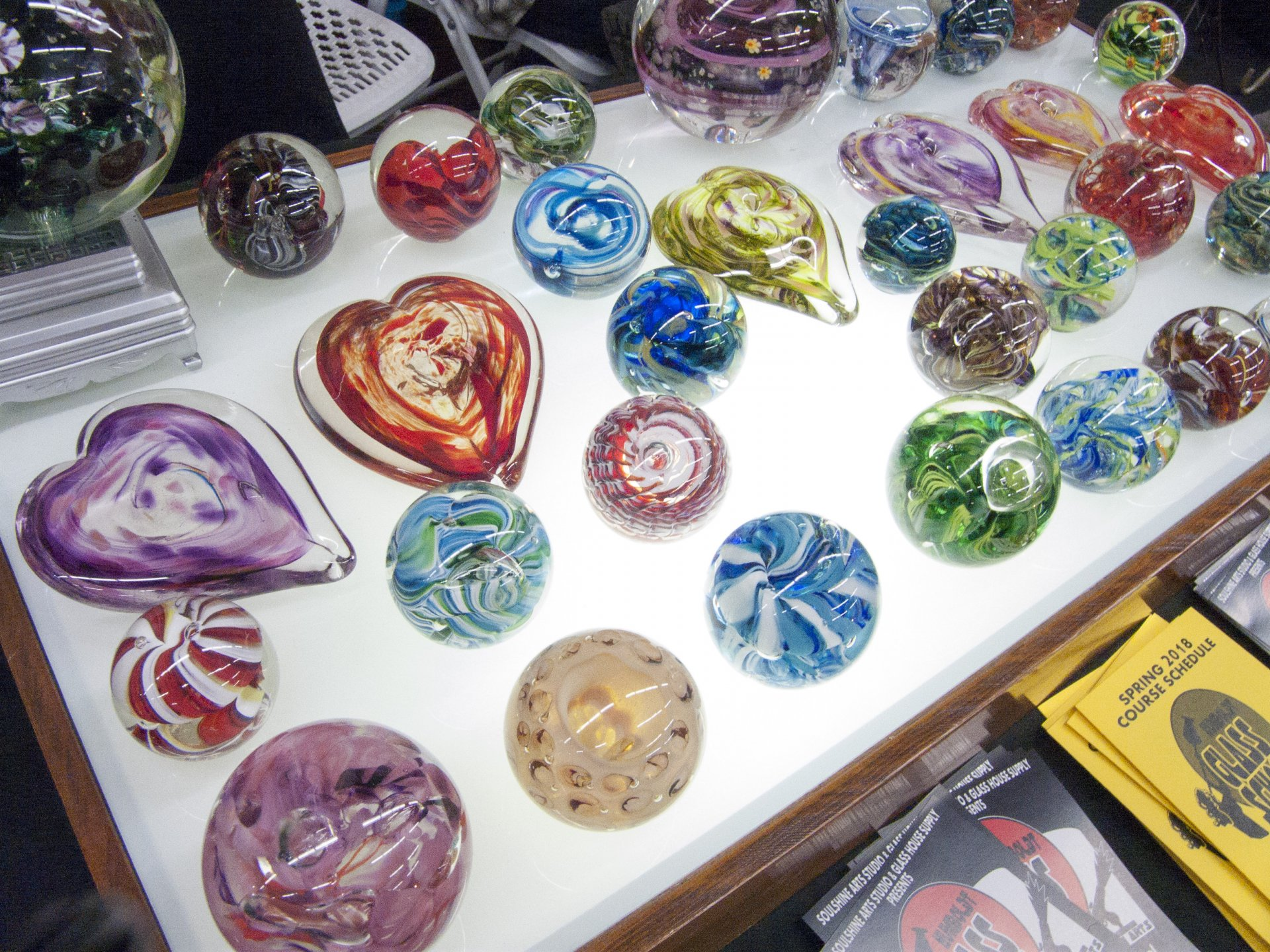 Marble display by Humboldt Glass School at Humboldt Marble Weekend on Feb. 10. Photo by Matthew Hable.