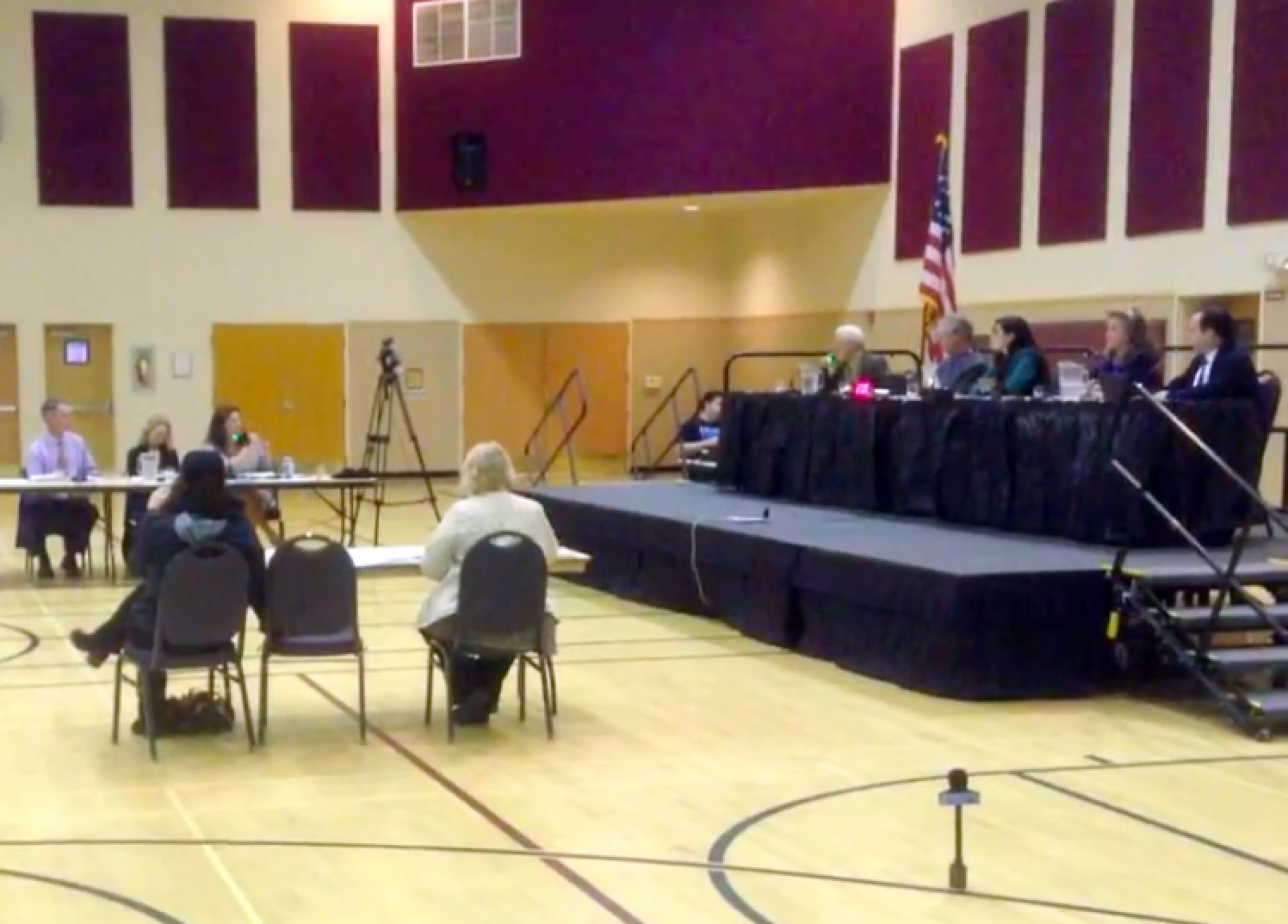 Arcata City Council meets with community members to discuss the McKinley statue at the Arcata Community Center on March 21. Photo by Tyrone McDonald.