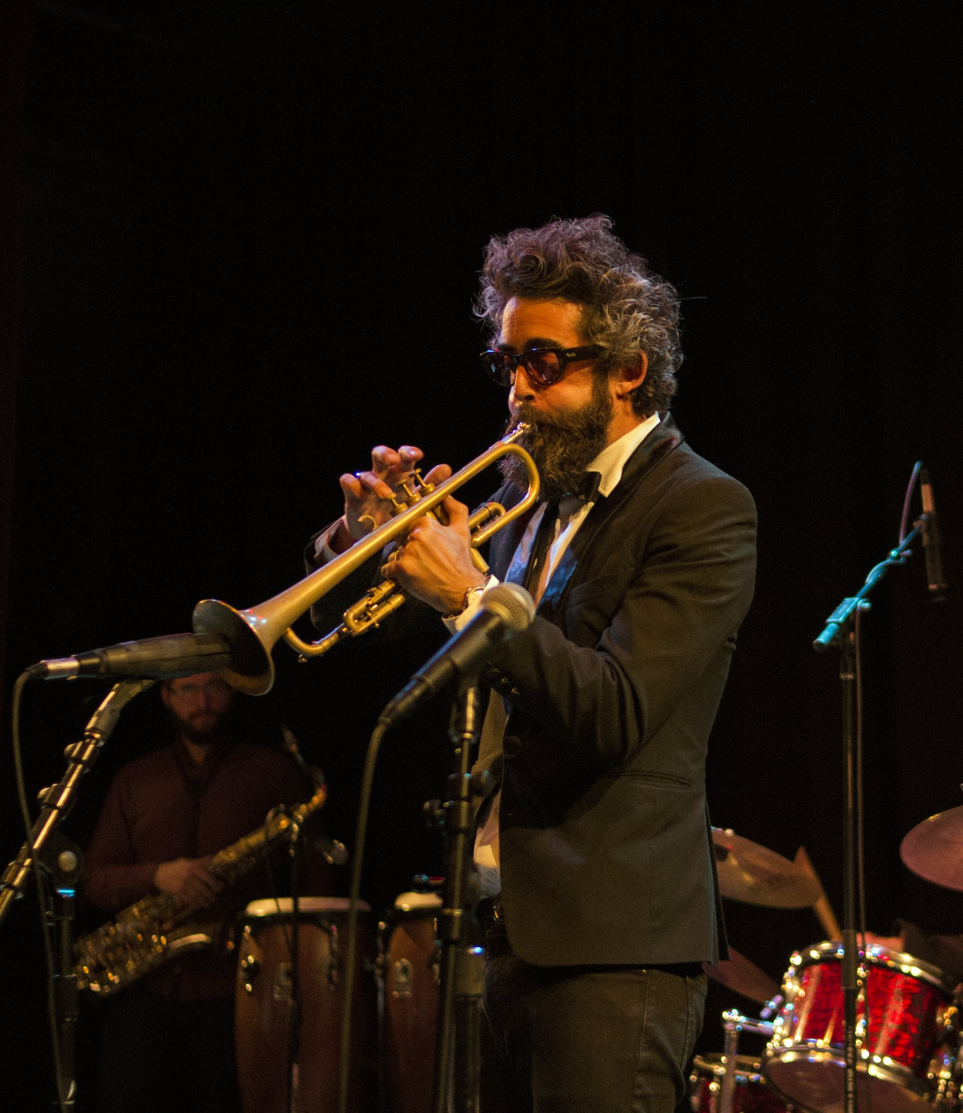 Arcata trumpeter, Nicholas Dominic Tralvola, in the middle of a solo during the Mile Davis tribute show at Arcata Playhouse on Saturday Sept. 8,2018. | Photo by Tony Wallin
