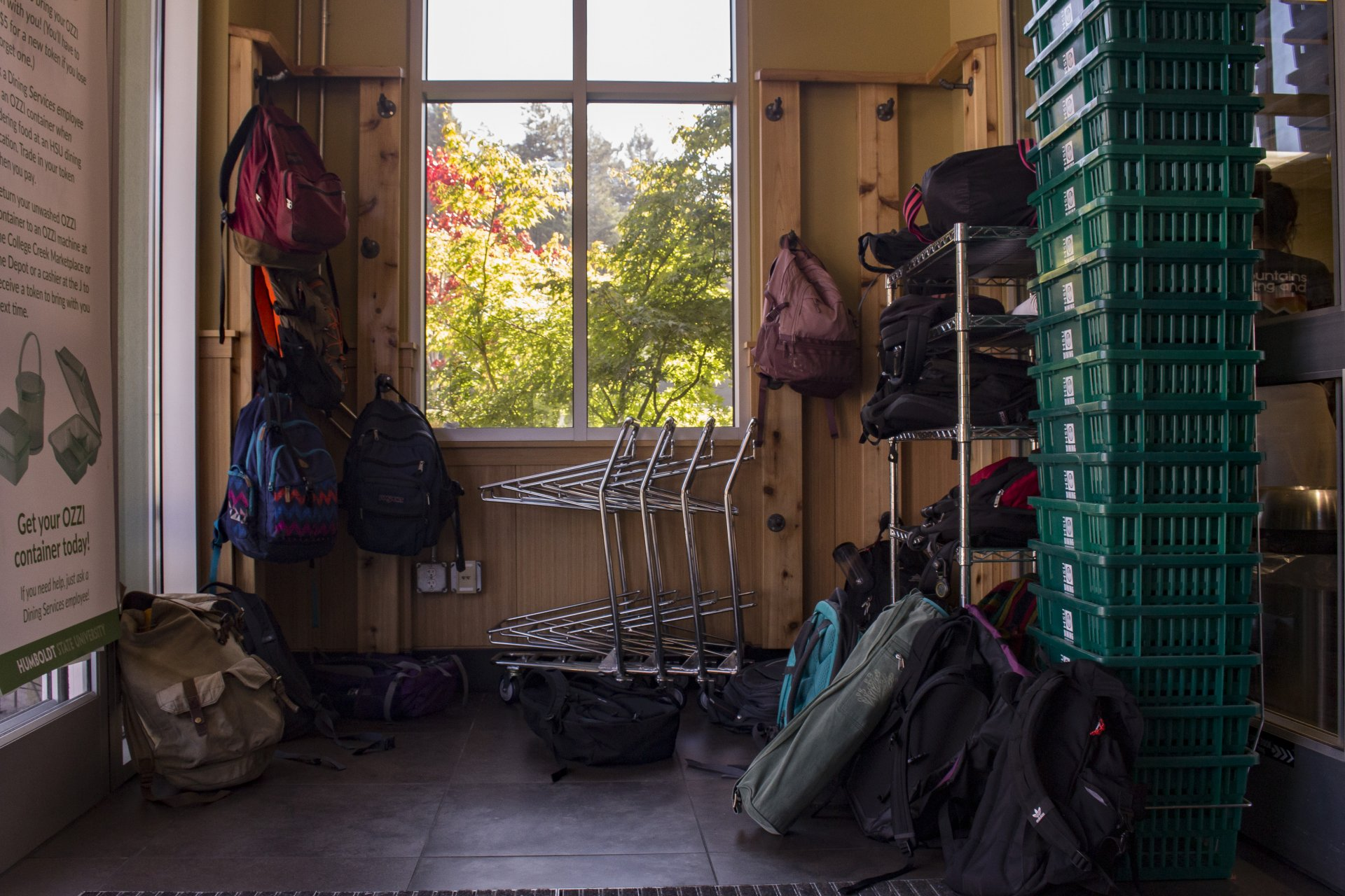 The College Creek Marketplace has a rule requiring students to leave their backpacks vulnerably at the door in attempt to discourage theft. | Photo by Nick Kemper