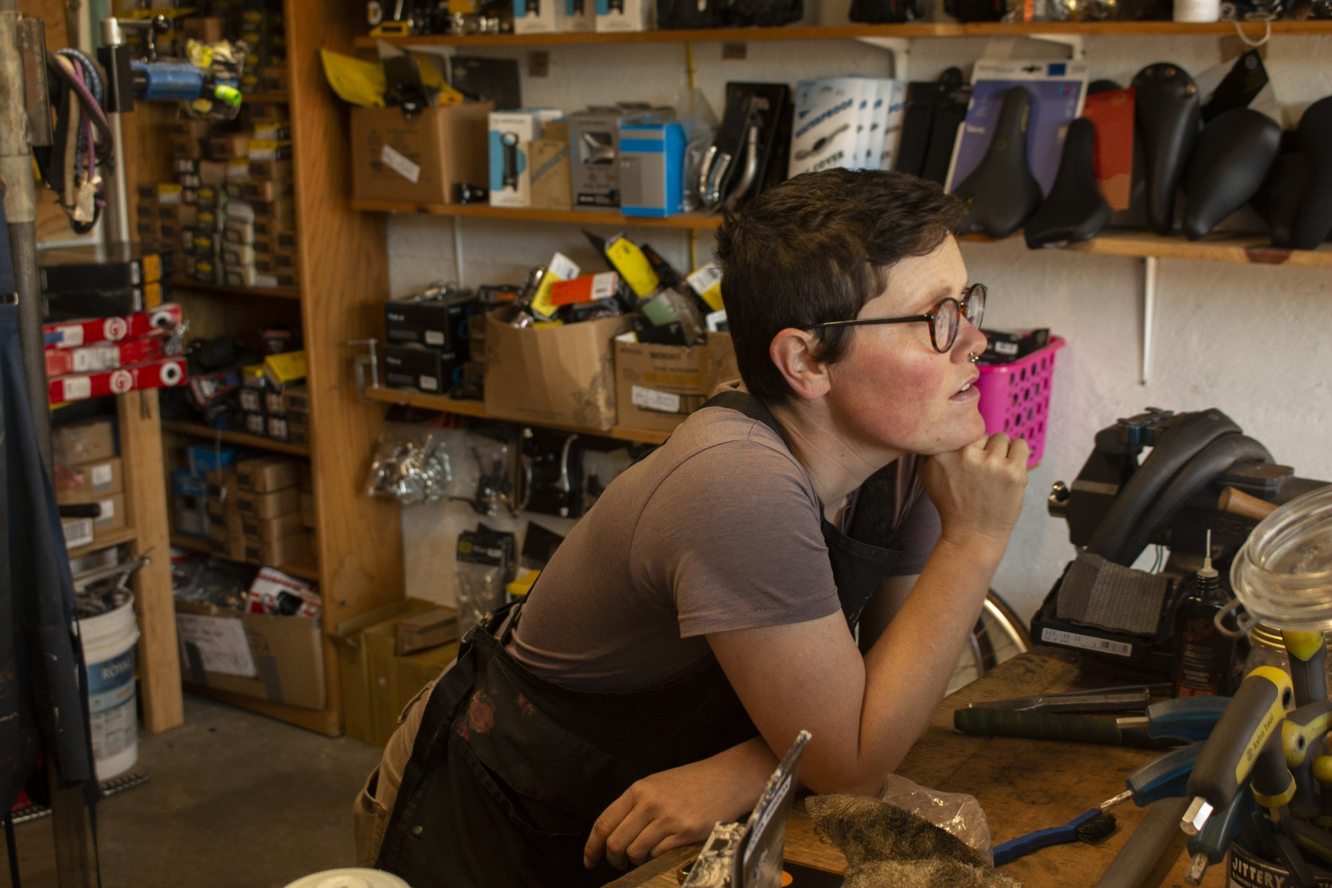 Sage Saatdjian explains the philosophy behind opening Mooncycles during a break in the shop in Arcata, CA. | Photo by Sean Bendon