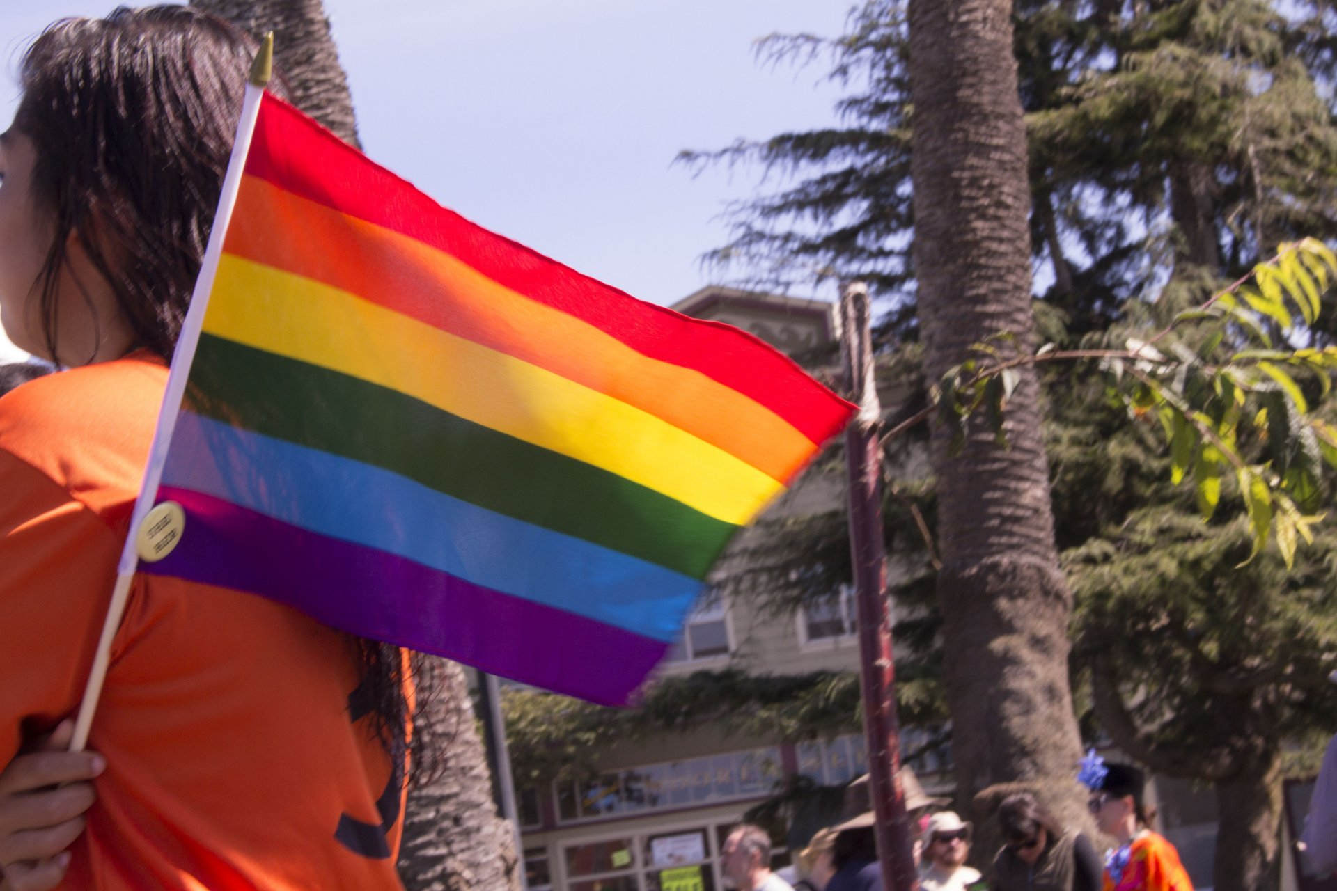 Humboldt pride took place in the Arcata square, September 24th. Close up on rainbow flag. | Kyra Skylark