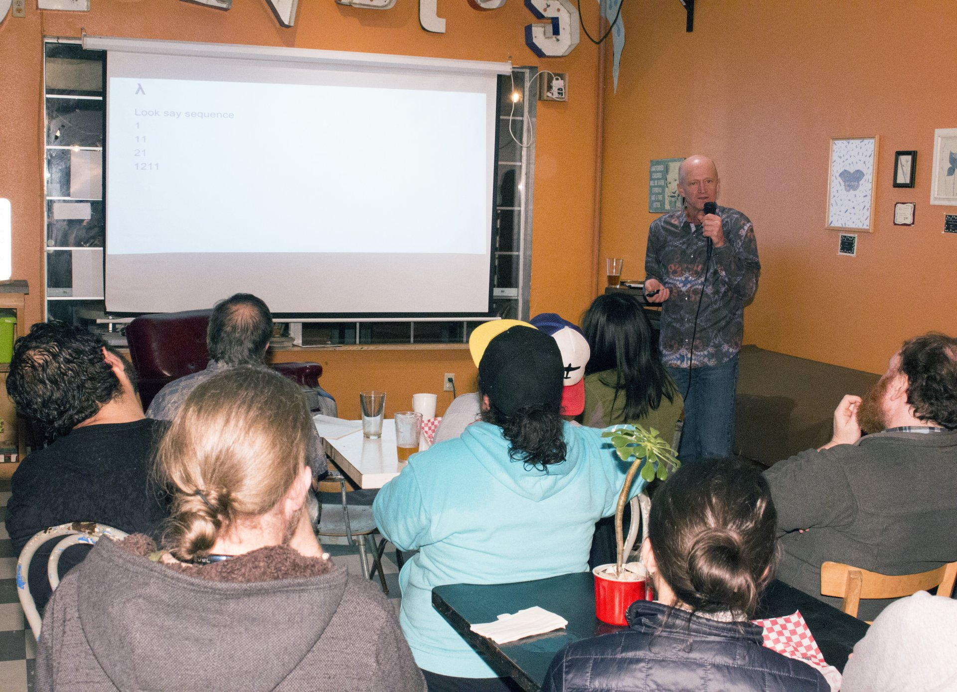 Mathematician Jeff Haag presents at Science on Tap at Blondies on March 7. Photo by Nick Kemper.