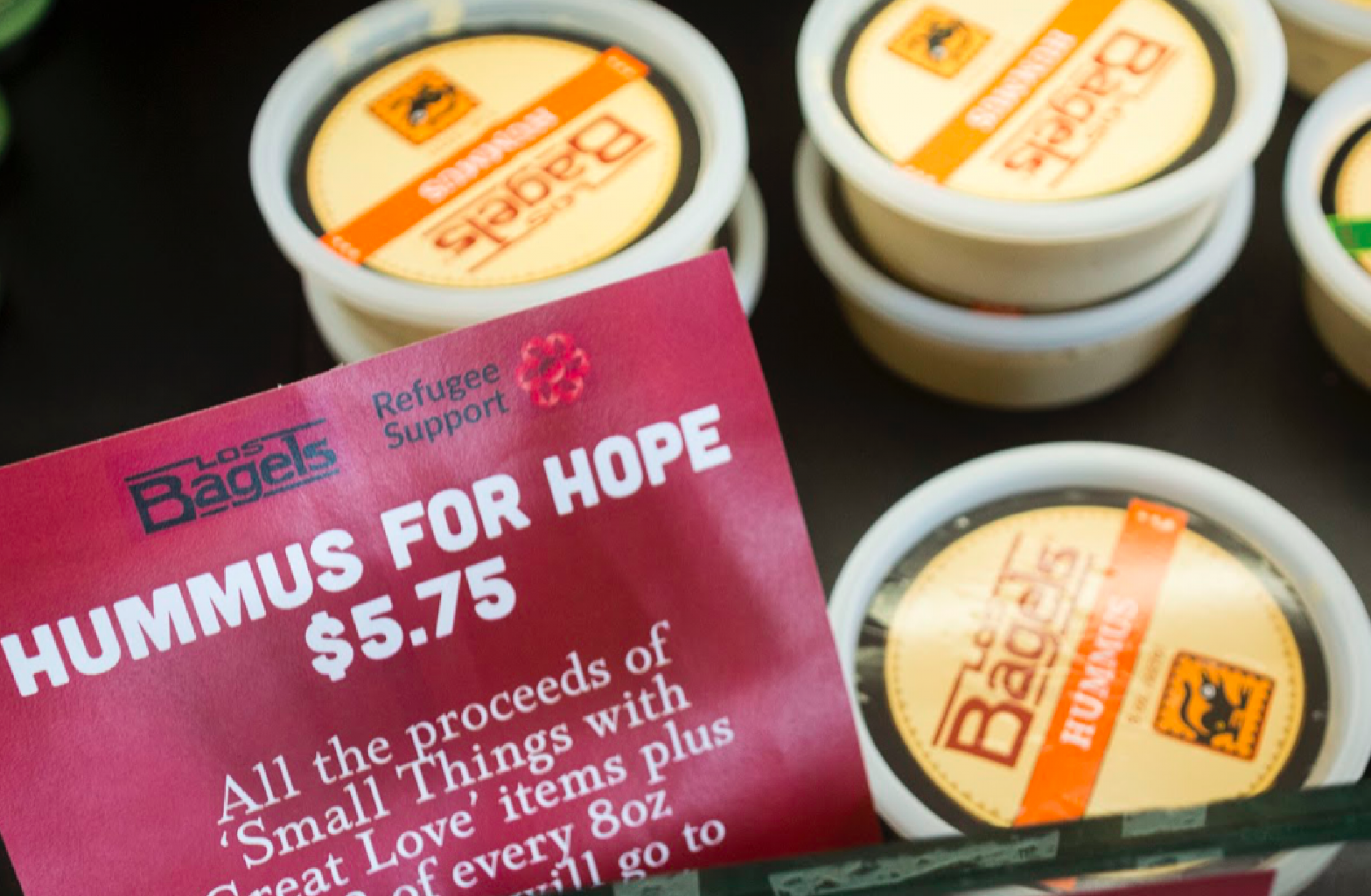 Packaged hummus at Los Bagels in Arcata. Photo by Bailey Tennery.