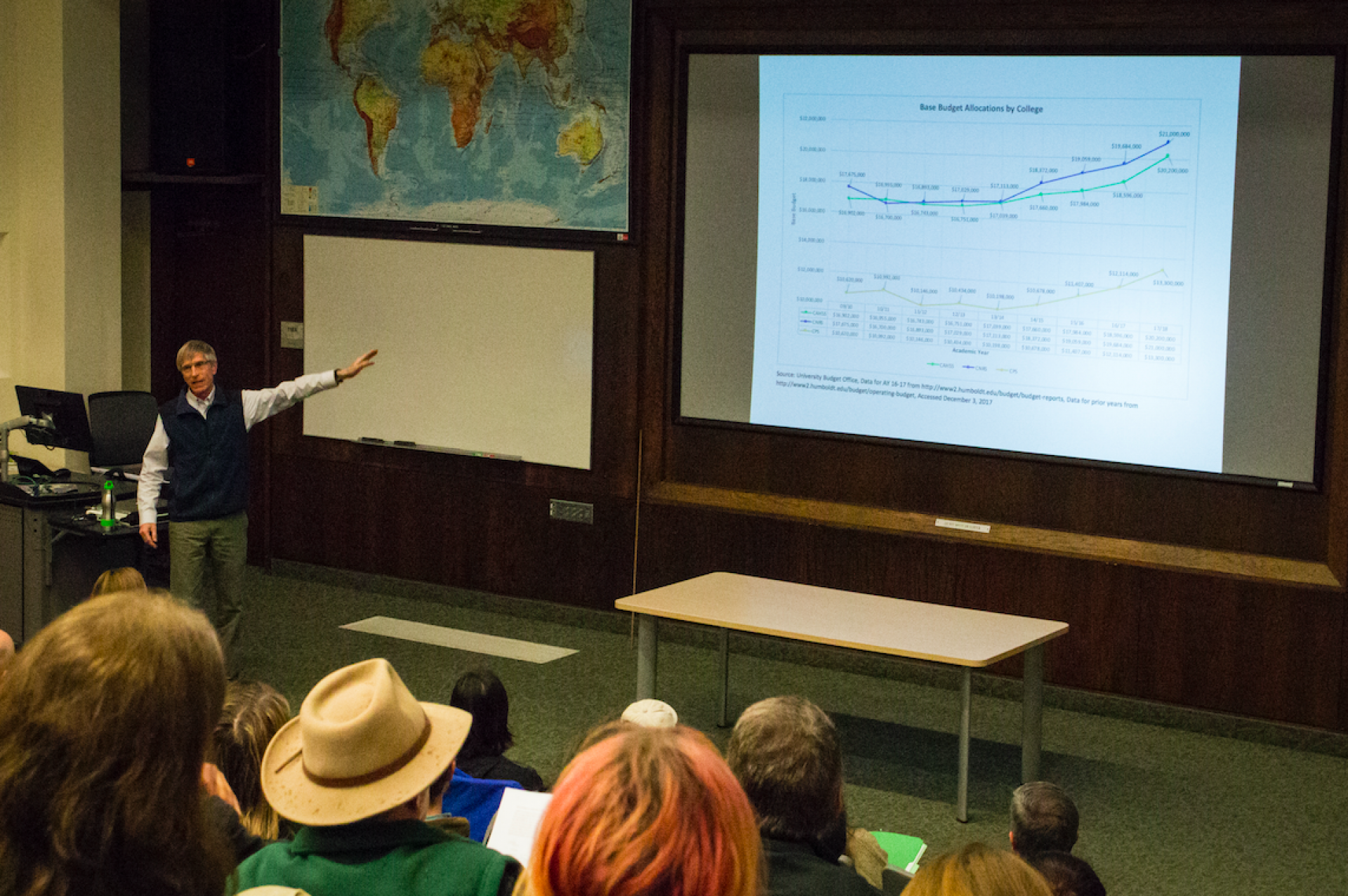 Richard Boone speaks at College of the Natural Resources and Sciences budget forum on March 1. Photo by Nick Kemper.