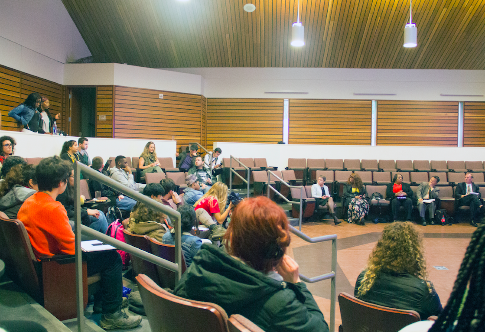 Humboldt State students air out their grievances to WSCUC during an open forum in the lobby of the Native American Forum on March 21. Photo by Surya Gopalan.