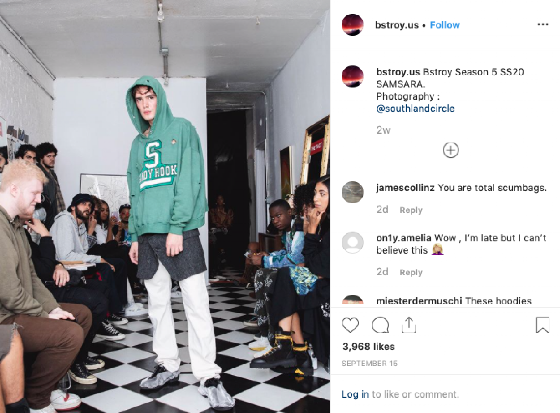 Screengrab of Bstroy's Instagram page promoting the bullet ridden streetwear.
