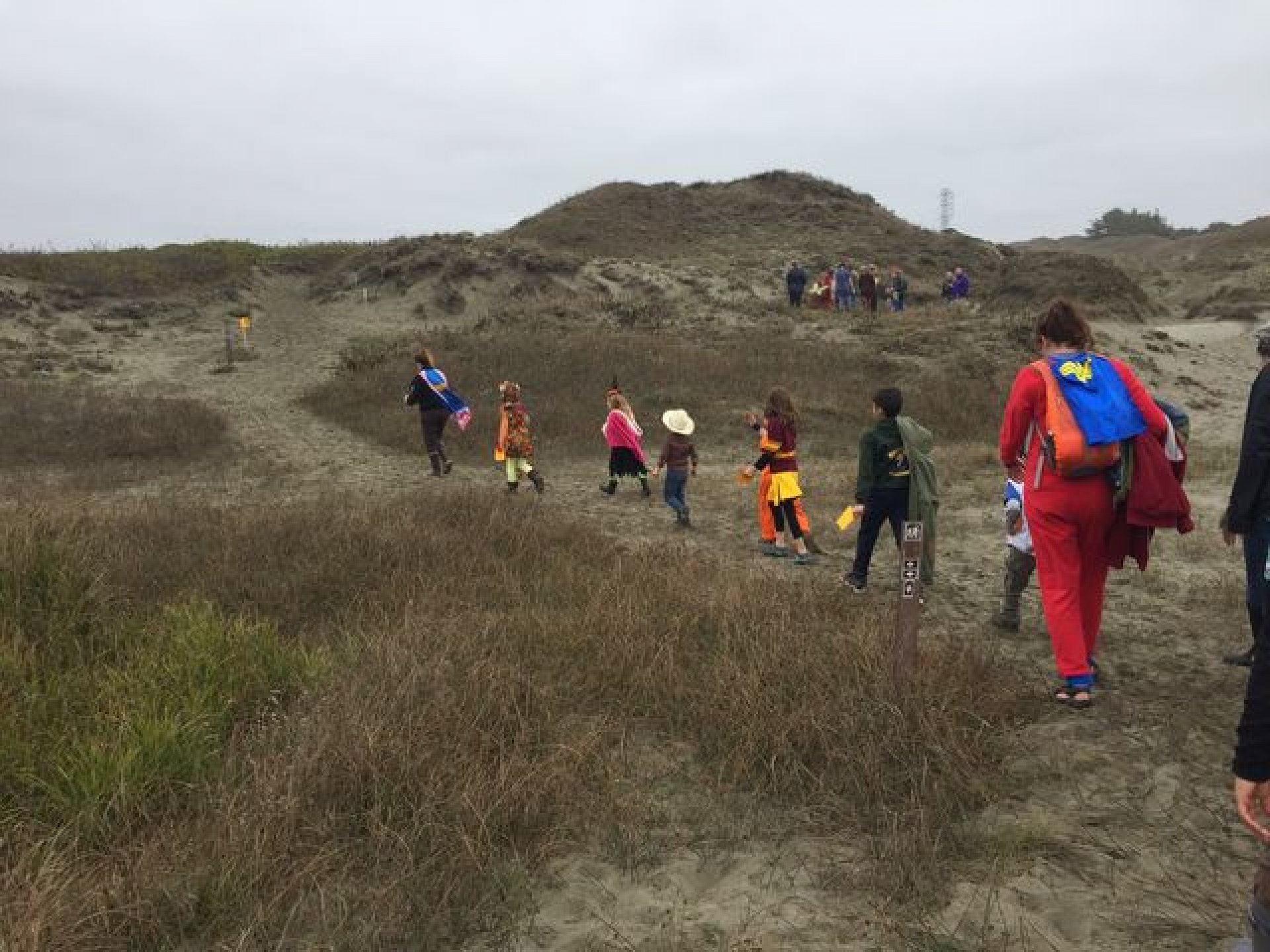 Local community members on the Humboldt dunes for the Friends of the Dunes' Halloween Spooky Dunes tour on Oct. 29, 2016. Photo by Kyra Skylark.