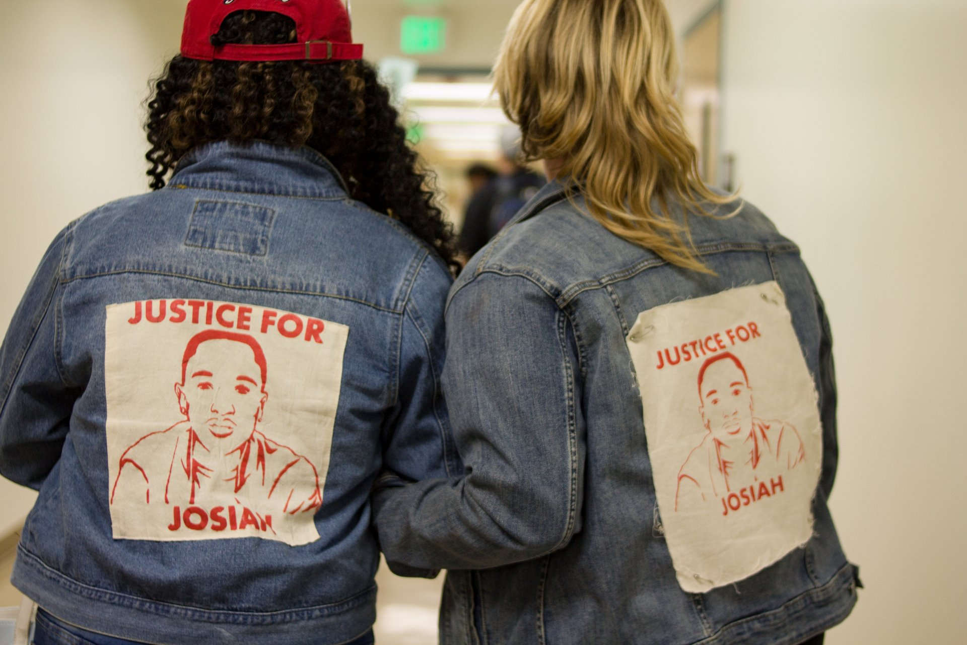 Charmaine Lawson, mother of Josiah Lawson, and Jill Larrabee, Justice for Josiah committee member, speak of acountability and safety at Sacramento State University on Oct. 18, 2018. | Photo by Tony Wallin