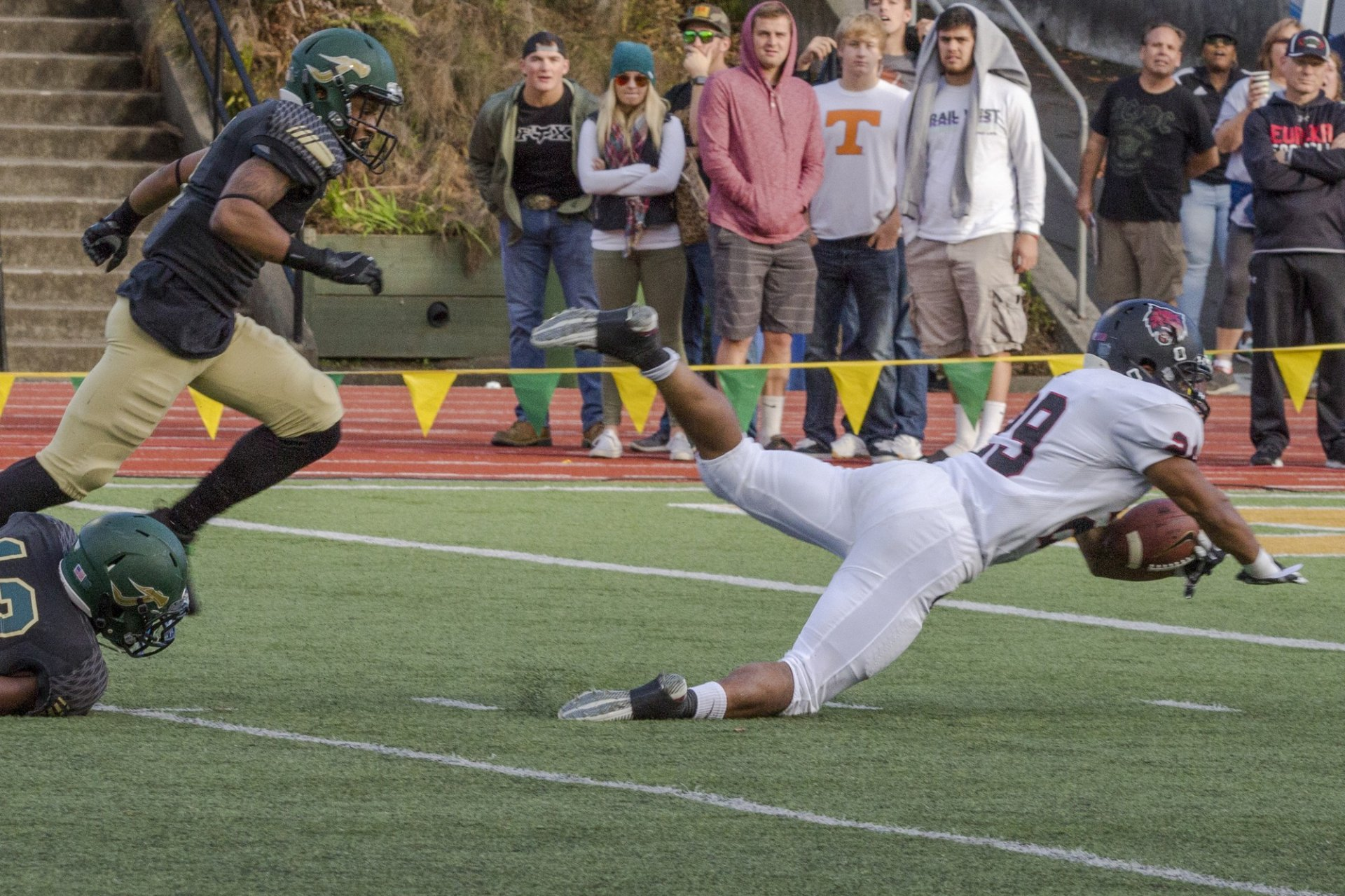 Shamir Geisinger (#29) of the wildcats dives to the end zone for a touchdown during the fourth quarter at the HSU Redwood bowl during the November 11 game. Photo credit: Ian Thompson