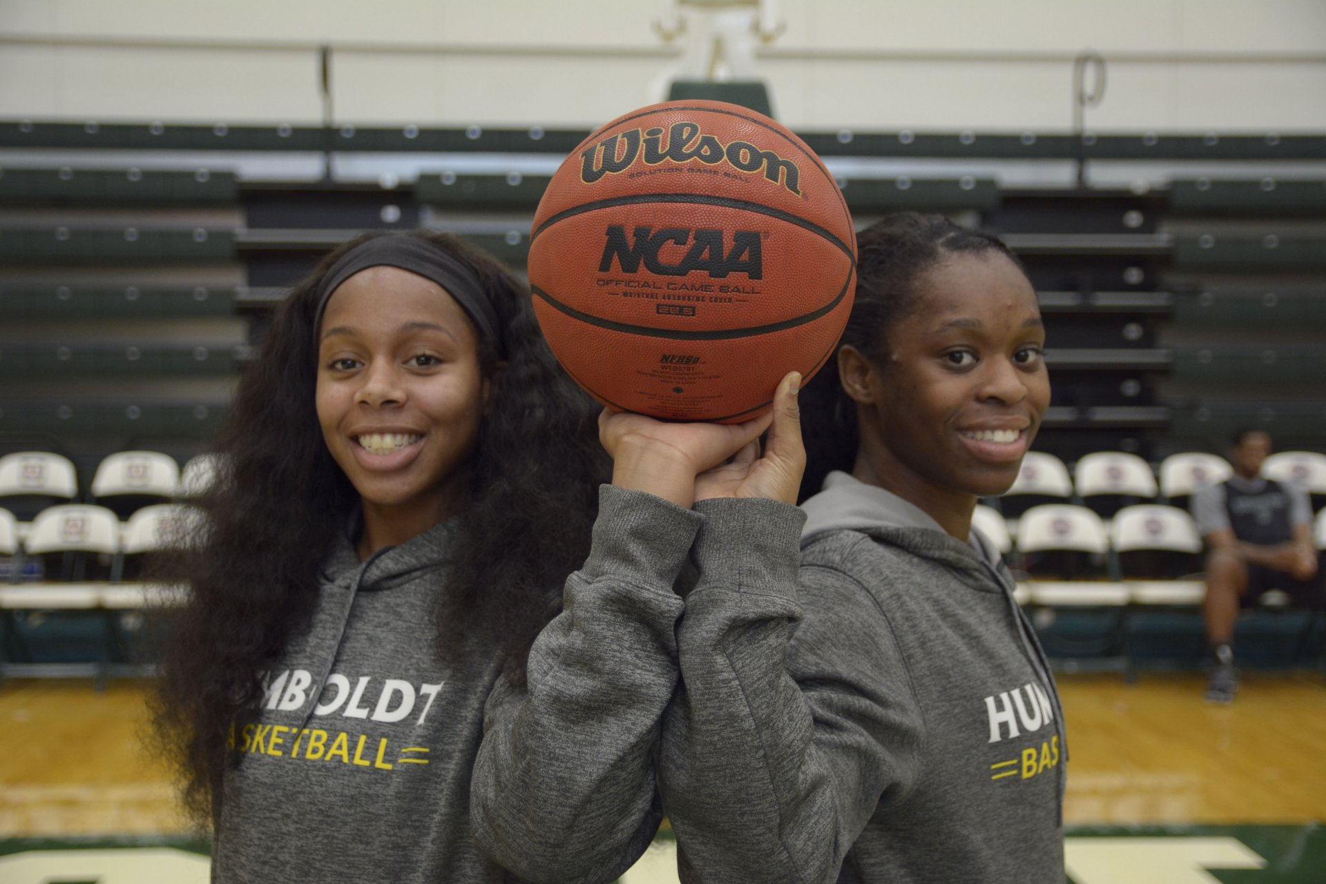 Tyra (left) and Tyla (right) pose for a photo in the Lumberjack Arena on Jan. 30. Photo by Zac Sibek.