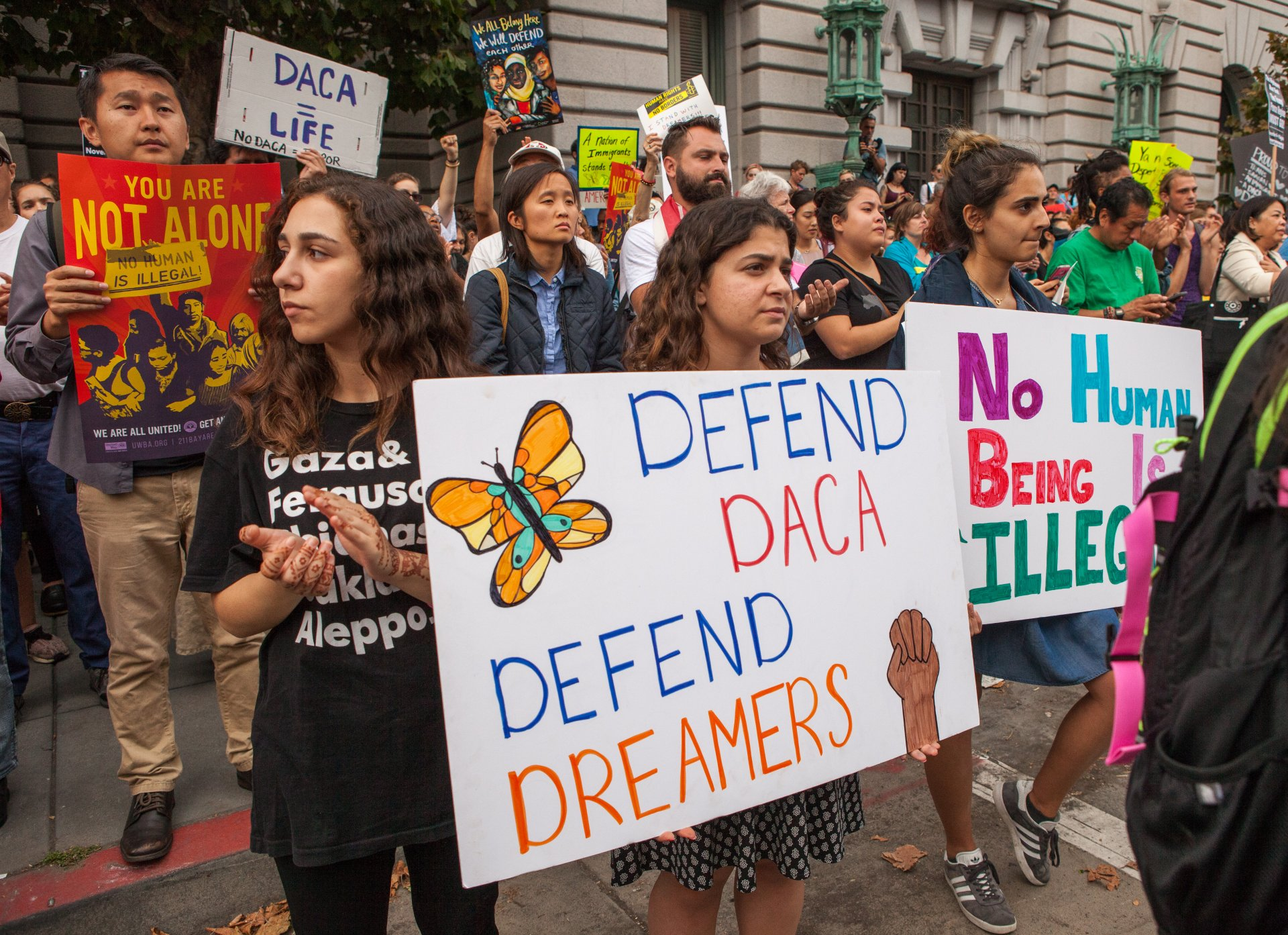 Defend DACA protesters in San Francisco on September 5, 2017. | Photo courtesy of Pax Gethen