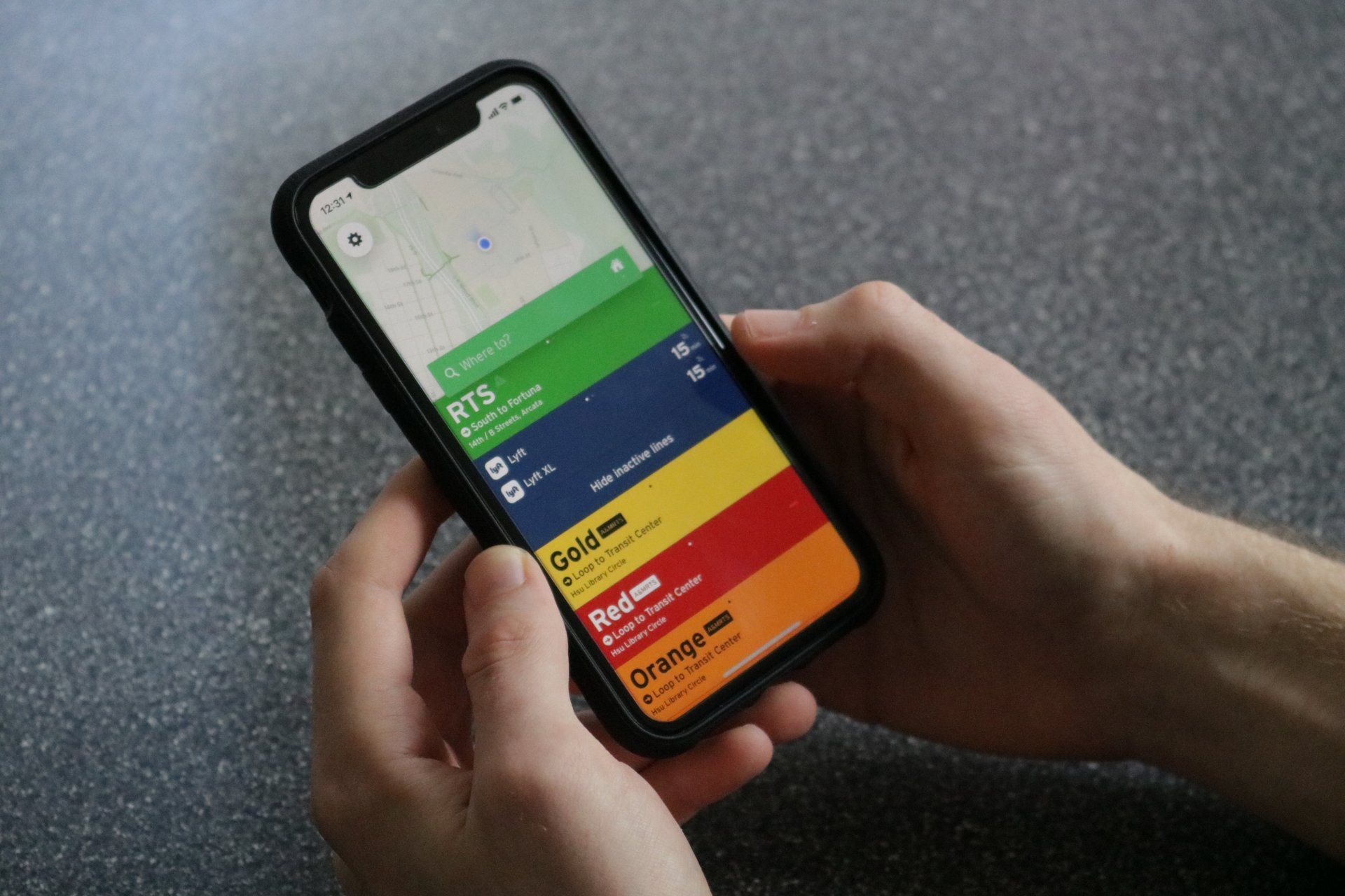 The Transit app on an iPhone. The Transit app shows you nearby bus routes and schedules with live updates.   Photo by Chelsea Wood
